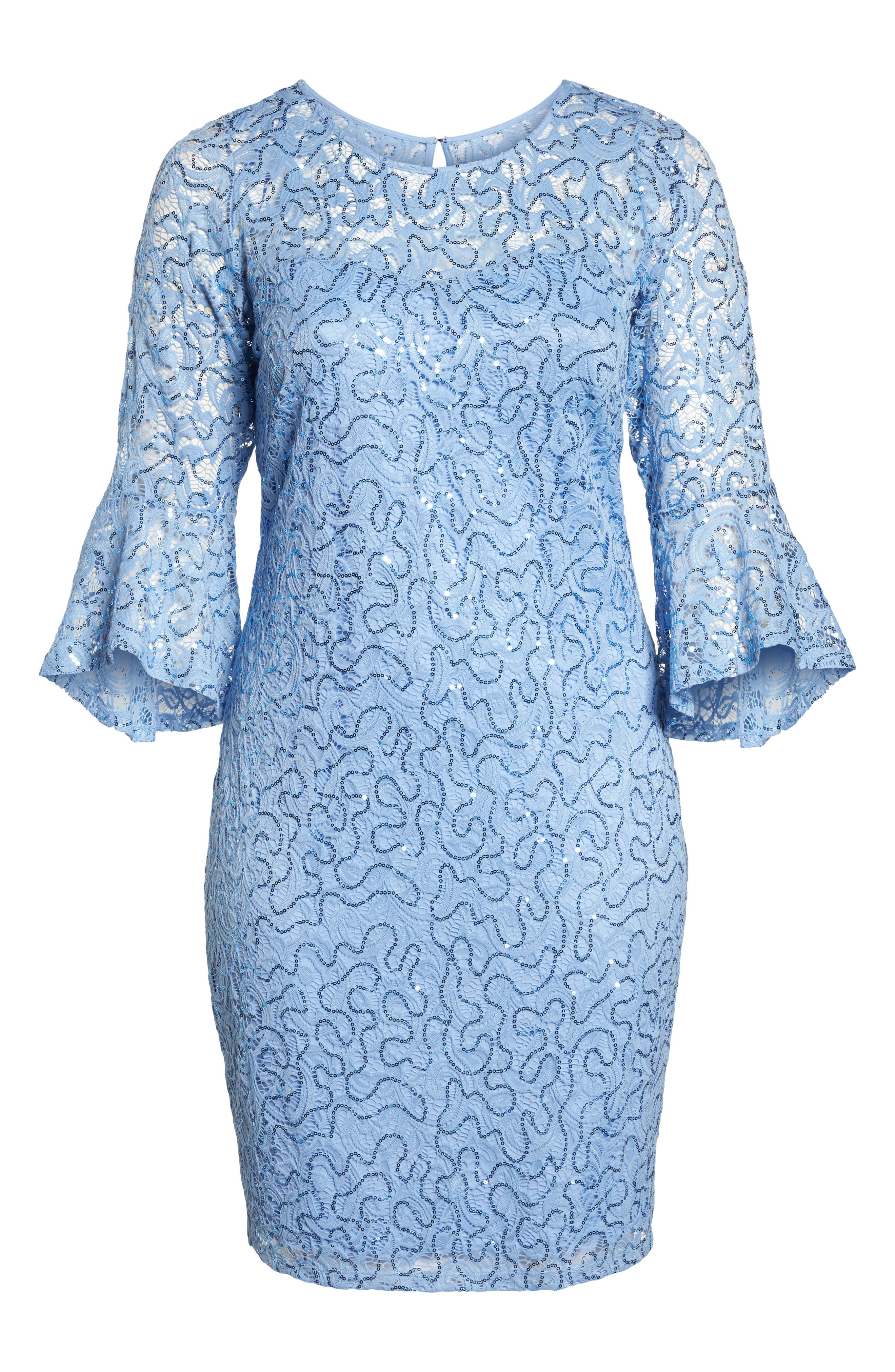 Sequin Lace Bell Sleeve Dress,                             Alternate thumbnail 6, color,                             BLUE