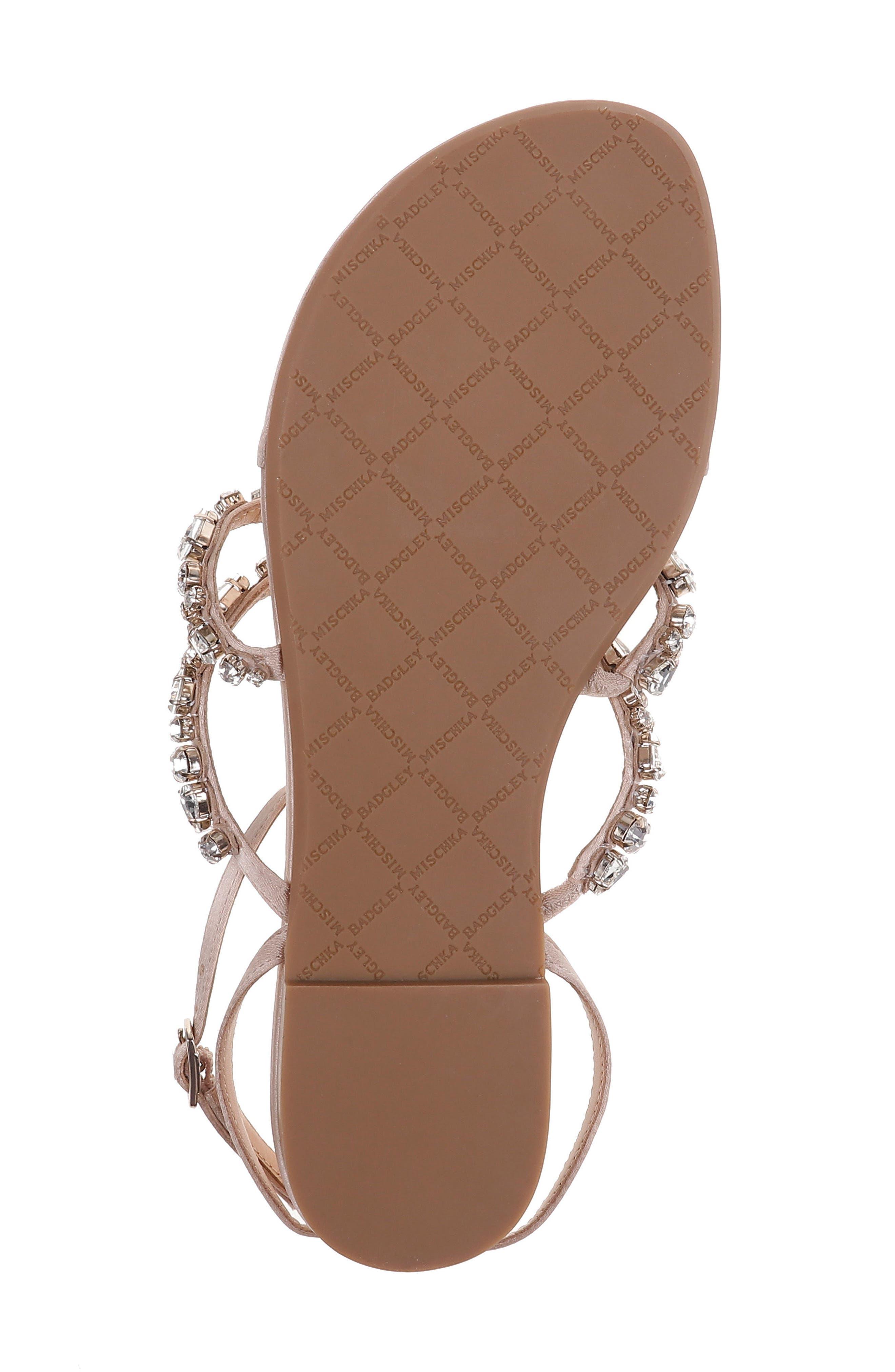 Hampden Crystal Embellished Sandal,                             Alternate thumbnail 6, color,                             LATTE SATIN