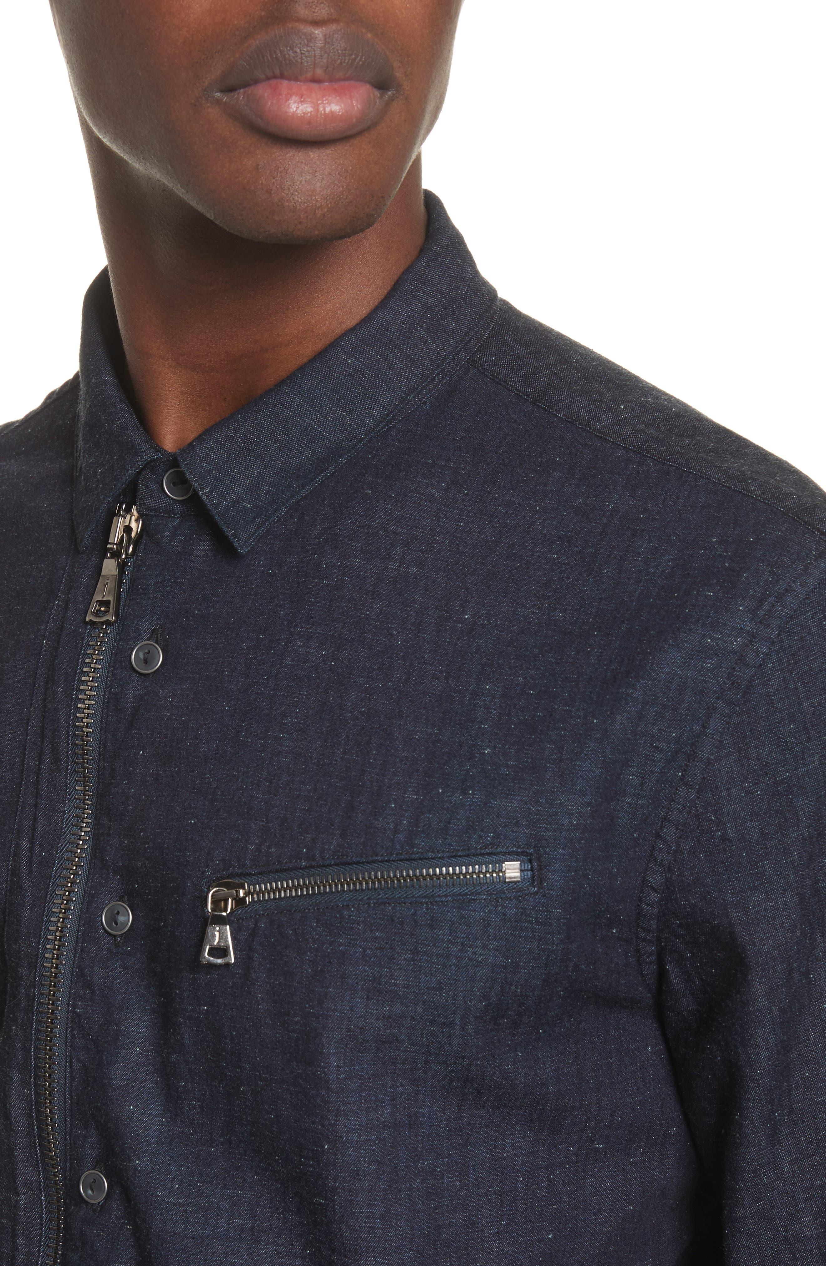 Cotton Blend Zip Shirt,                             Alternate thumbnail 4, color,                             410