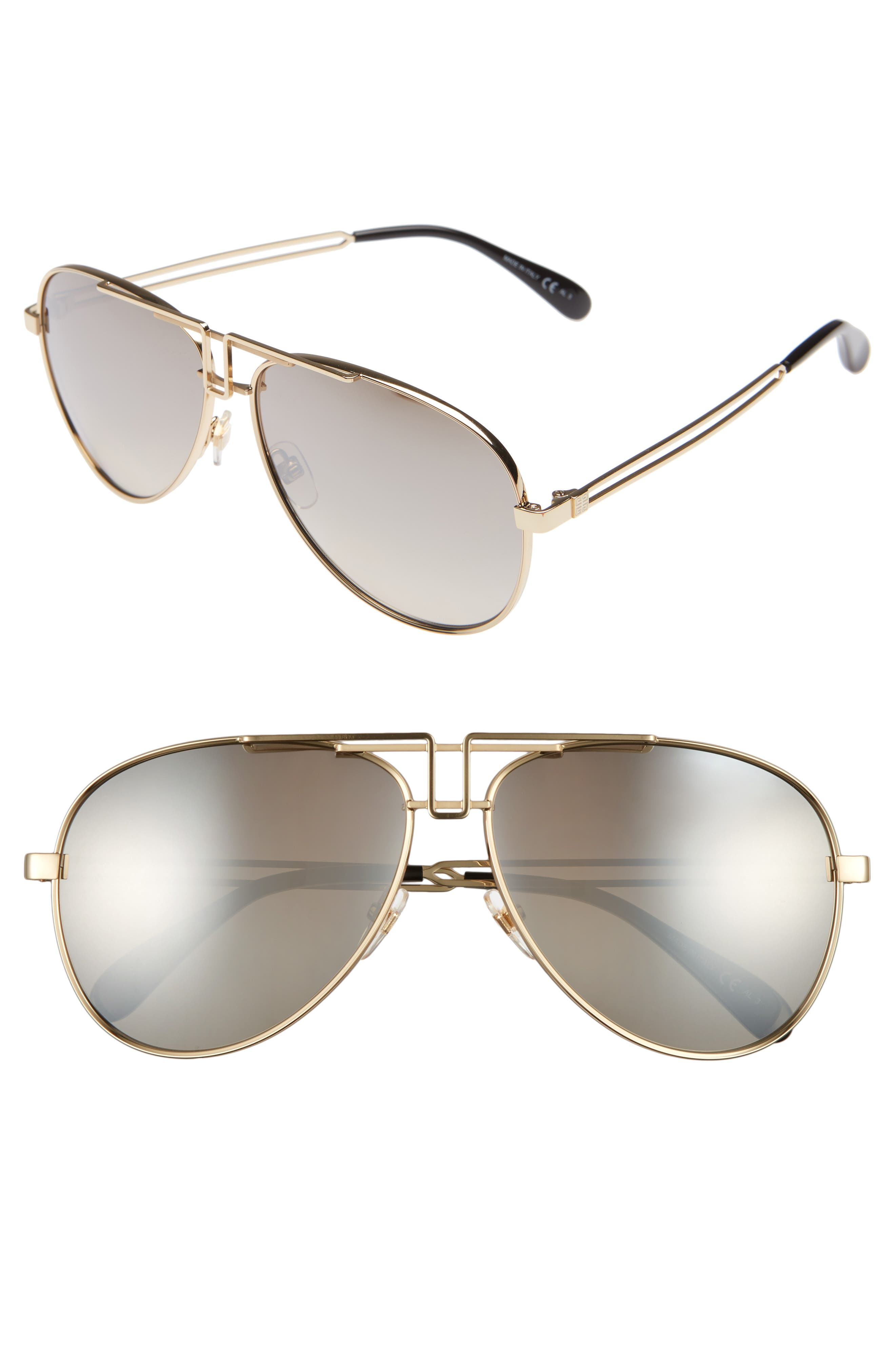 Givenchy 61Mm Aviator Sunglasses - Gold