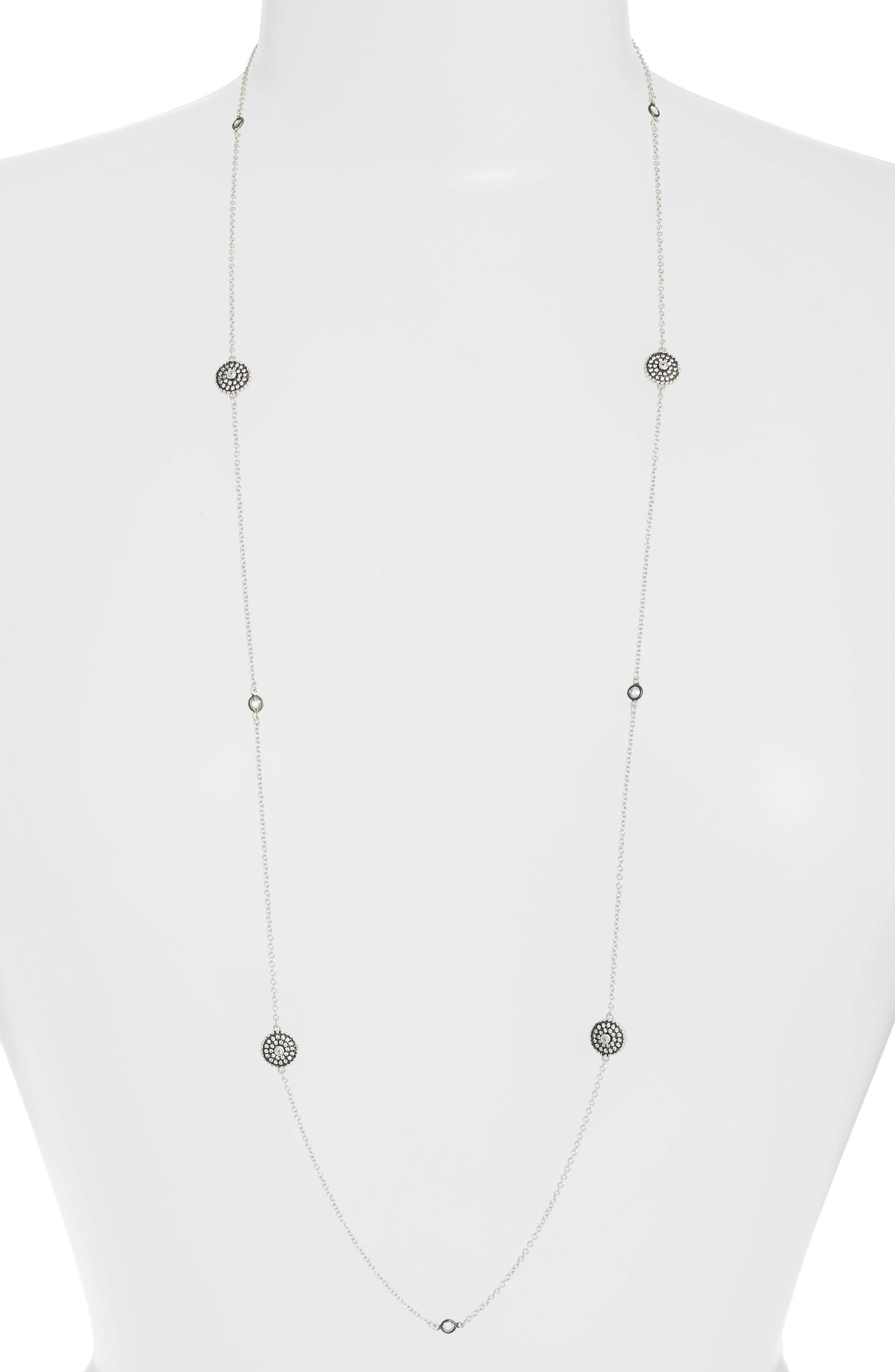 Double-Sided Pavé Disc Station Necklace,                         Main,                         color, BLACK/ WHITE/ SILVER