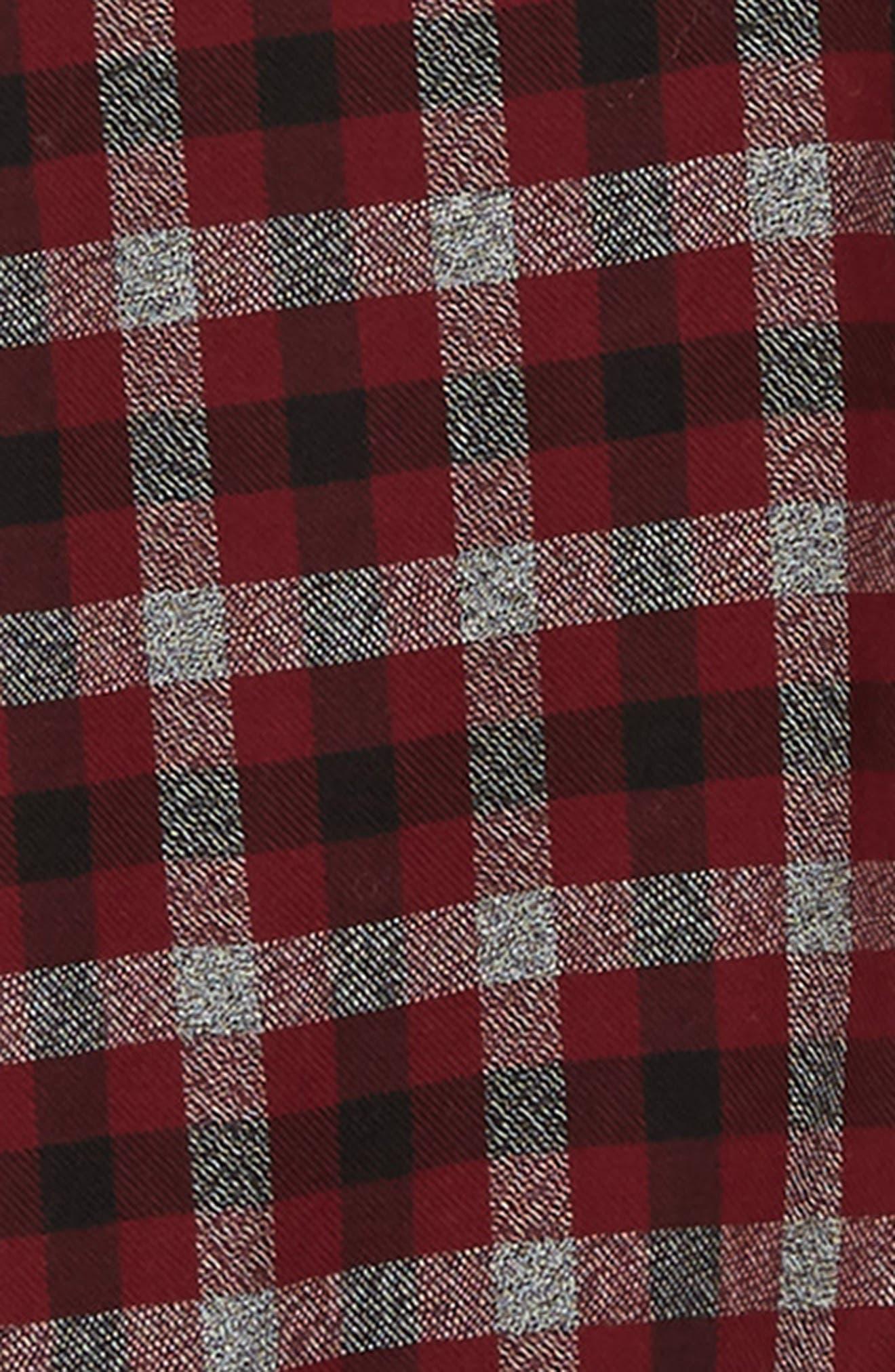 Regular Fit Dobby Check Shirt,                             Alternate thumbnail 6, color,                             RASPBERRY BERET