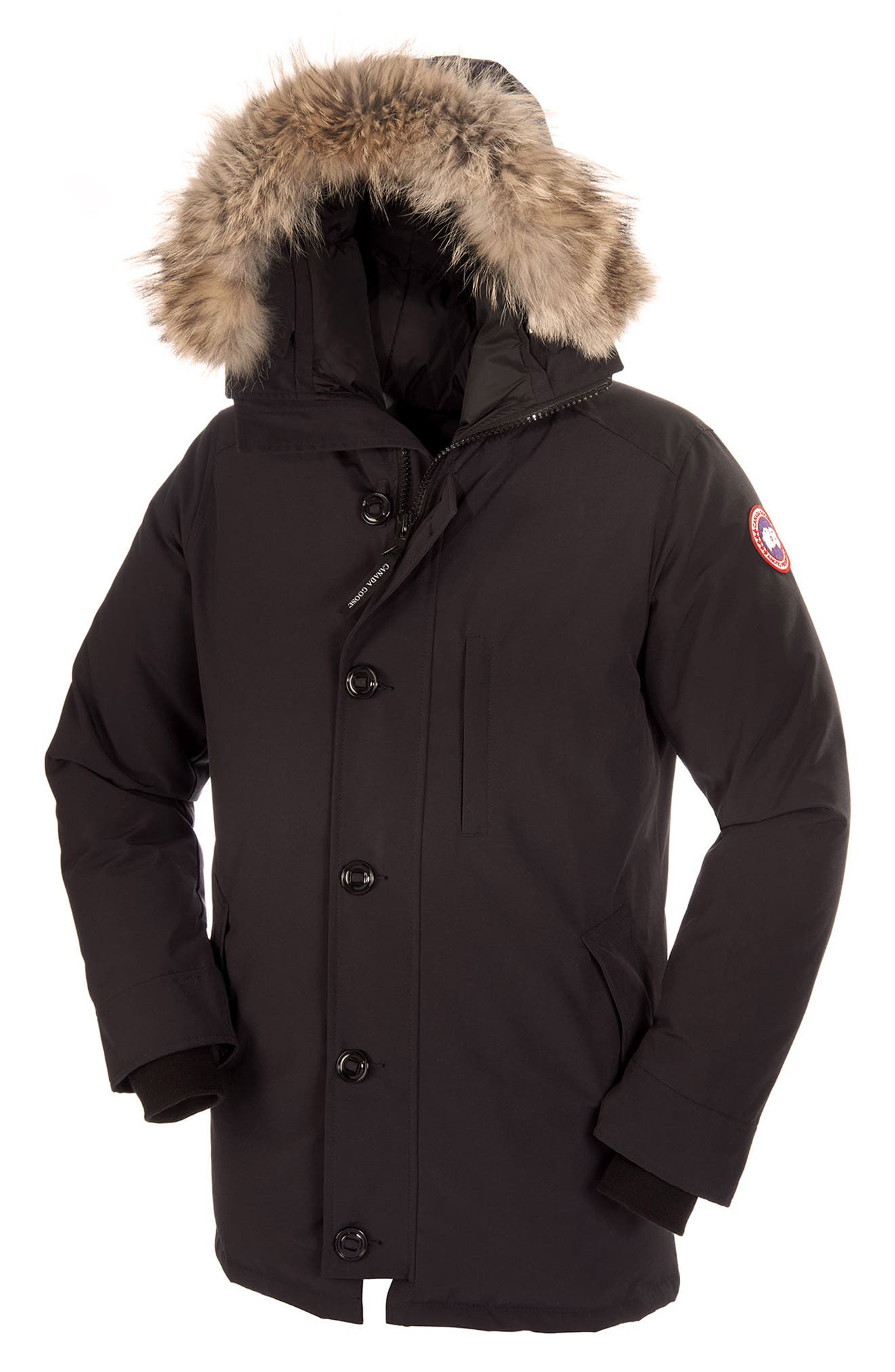 Chateau Parka with Genuine Coyote Fur Trim,                             Alternate thumbnail 5, color,                             001