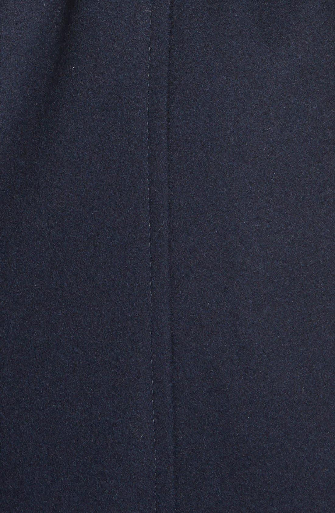 Faux Leather & Faux Fur Trim Belted Wool Blend Coat,                             Alternate thumbnail 15, color,