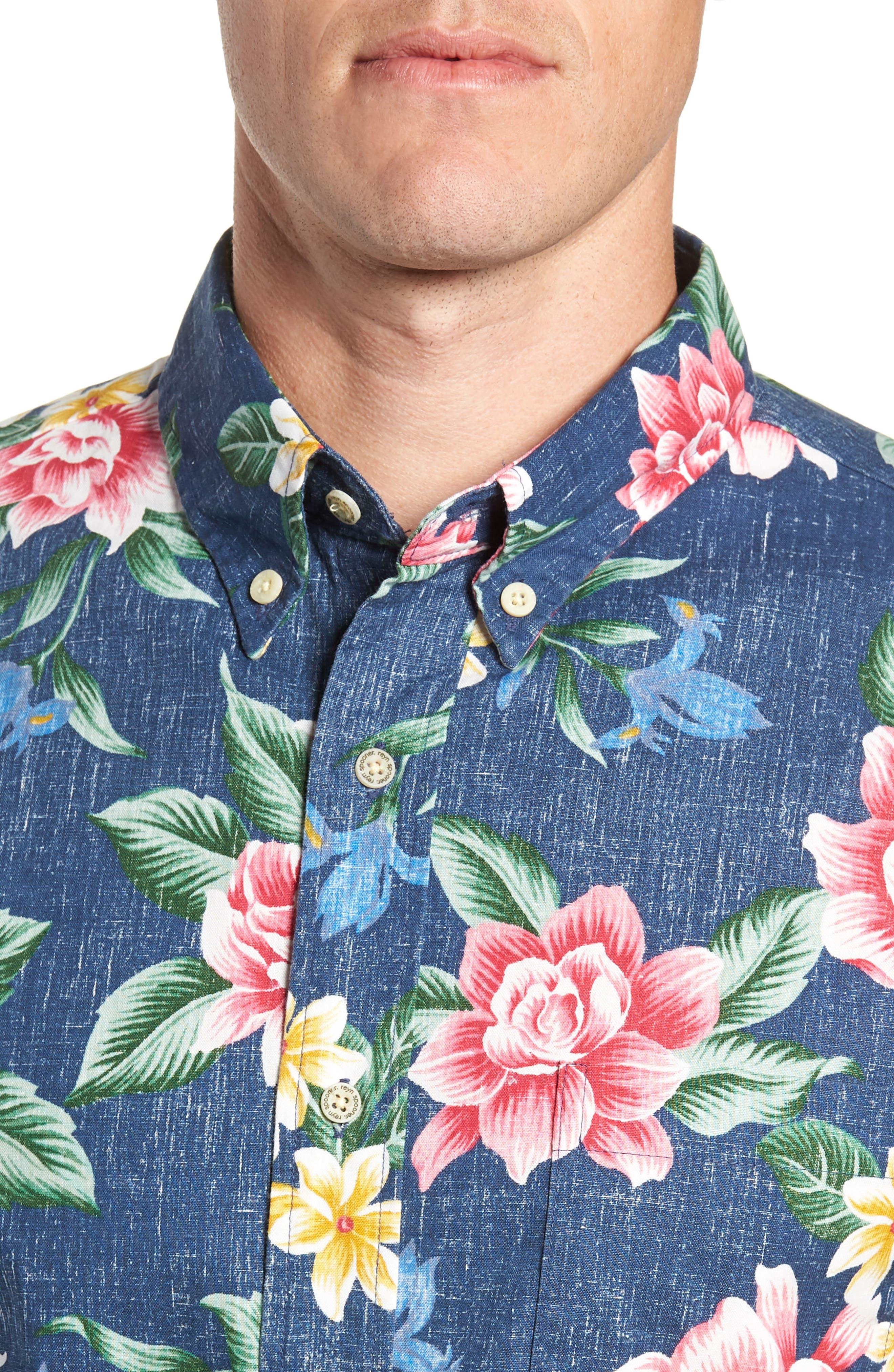 Hou Pua Nui Regular Fit Sport Shirt,                             Alternate thumbnail 4, color,                             INK