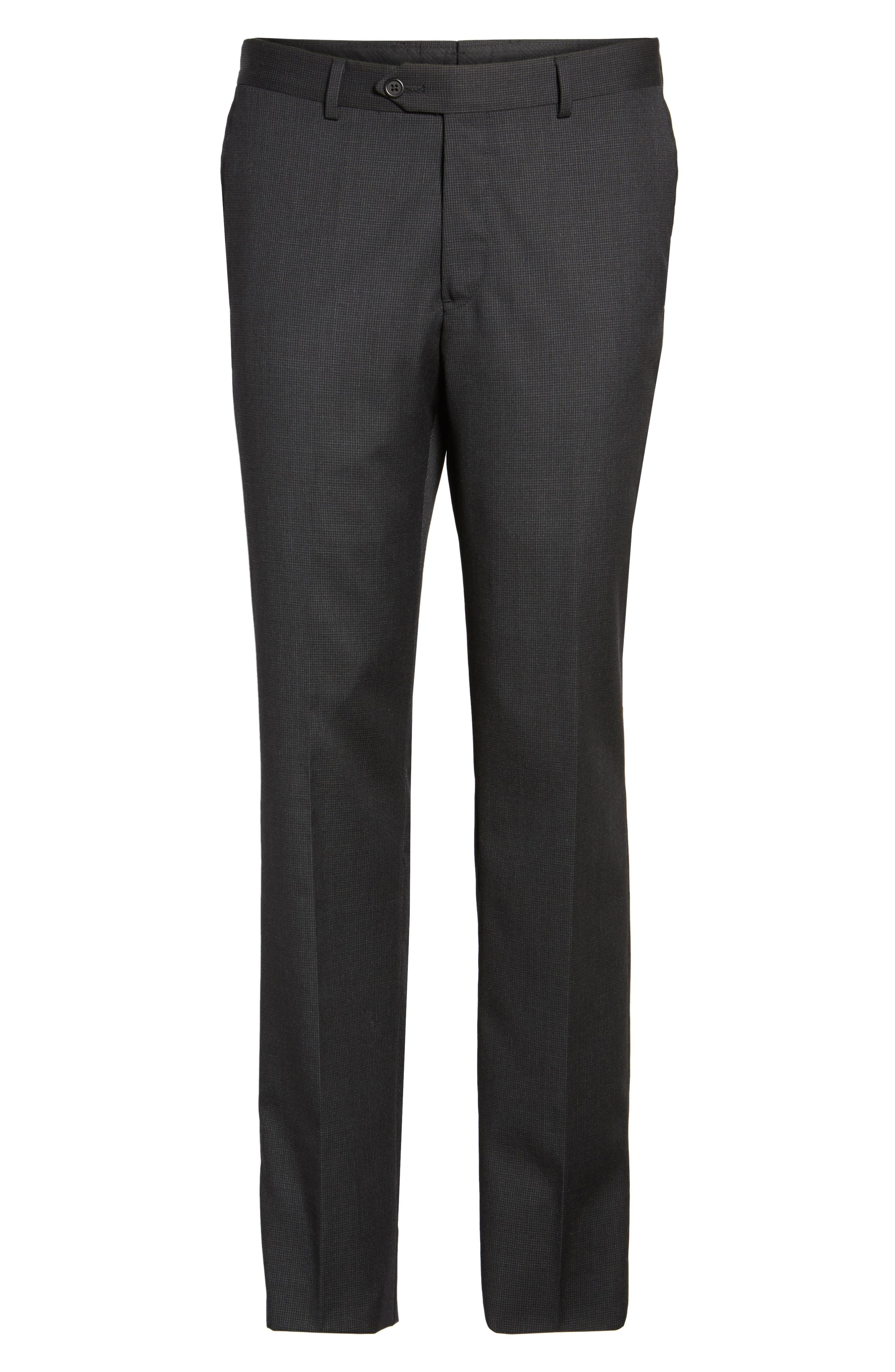 Flat Front Check Wool Trousers,                             Alternate thumbnail 6, color,                             001