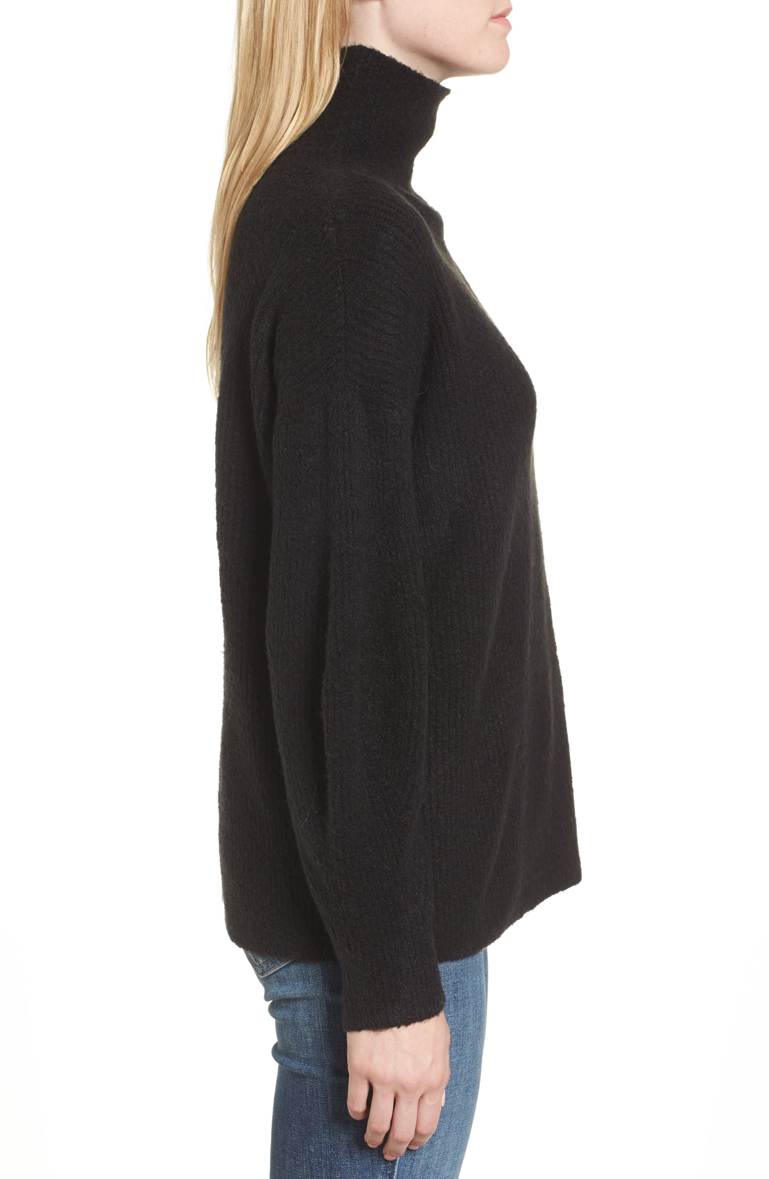 Urban Flossy Turtleneck Sweater,                             Alternate thumbnail 3, color,                             001
