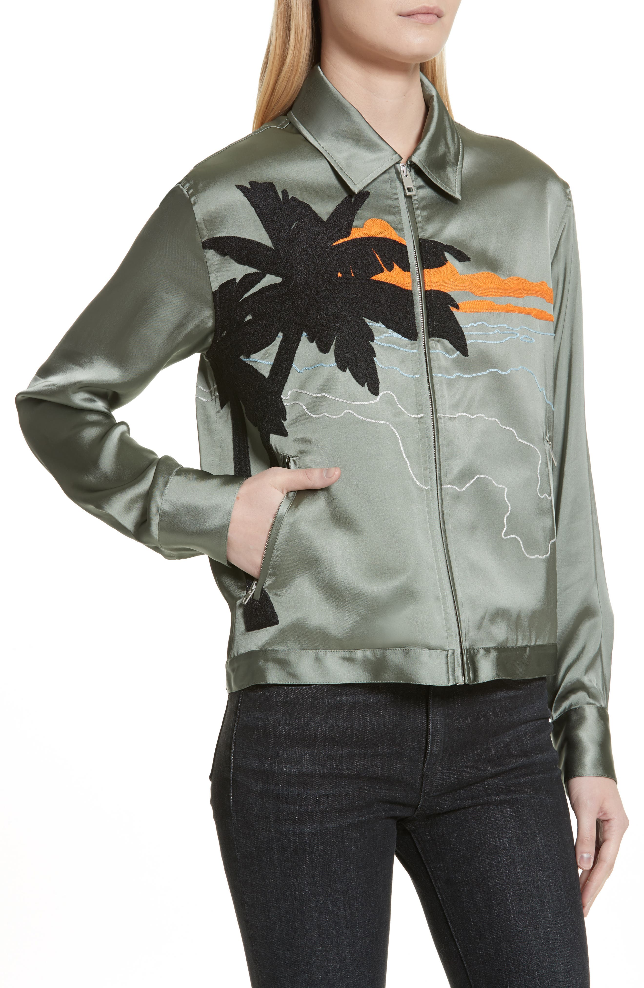 Roth Embroidered Satin Jacket,                             Alternate thumbnail 4, color,                             350