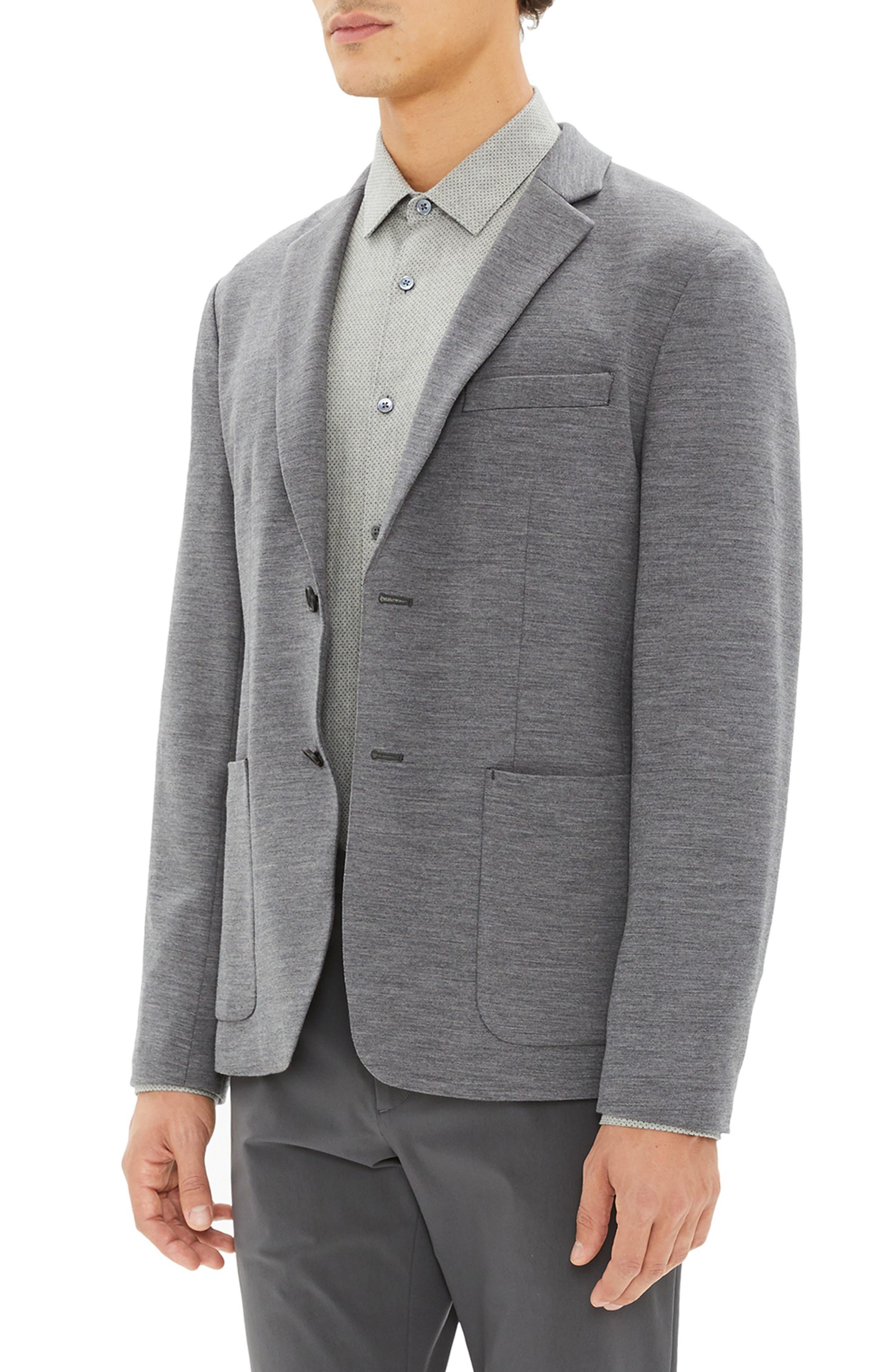 Clinton Wool Interlock Sport Coat,                             Alternate thumbnail 3, color,                             DARK GREY MELANGE