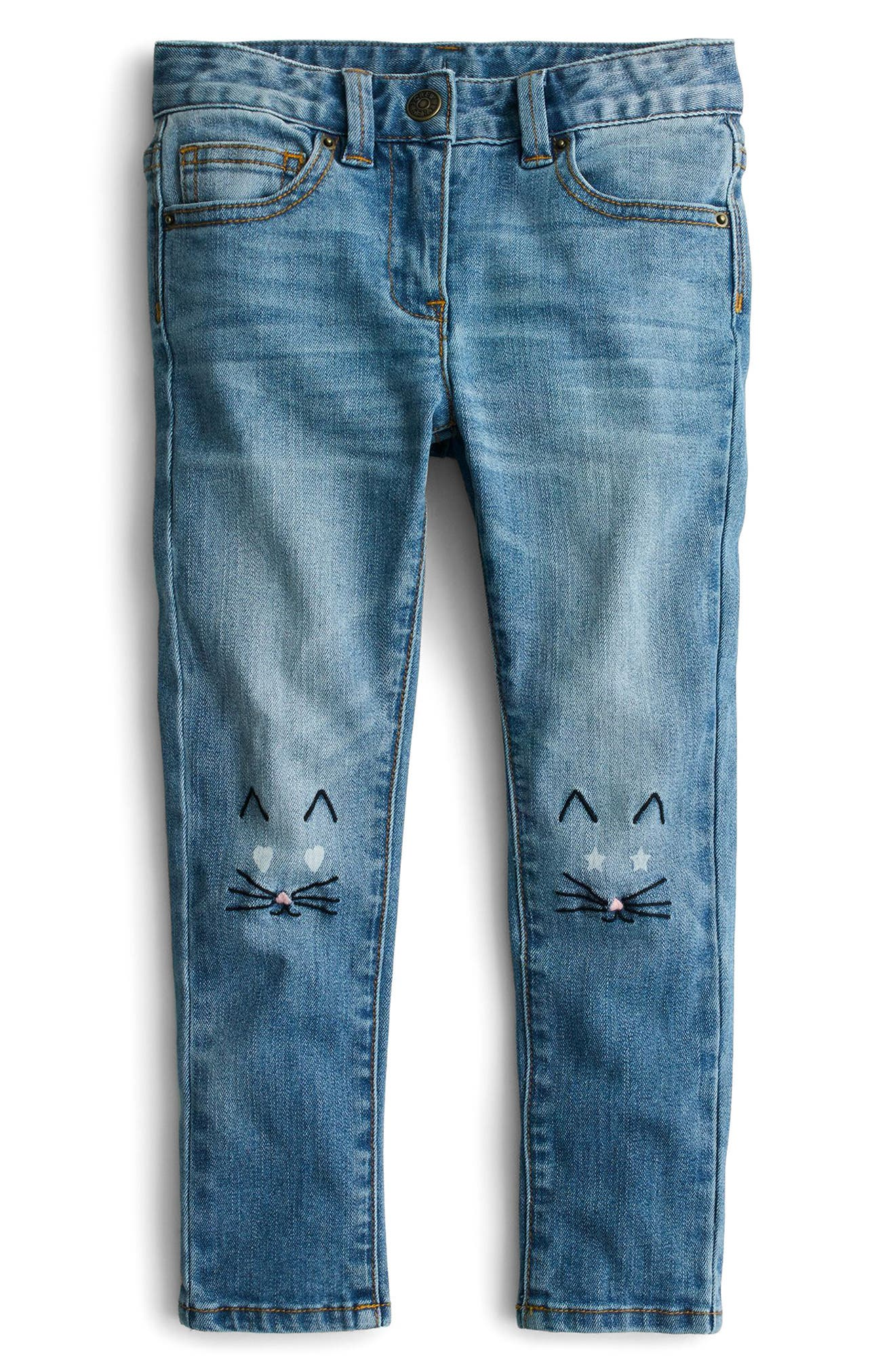 Toothpick Kitten Embroidered Jeans,                             Main thumbnail 1, color,                             400
