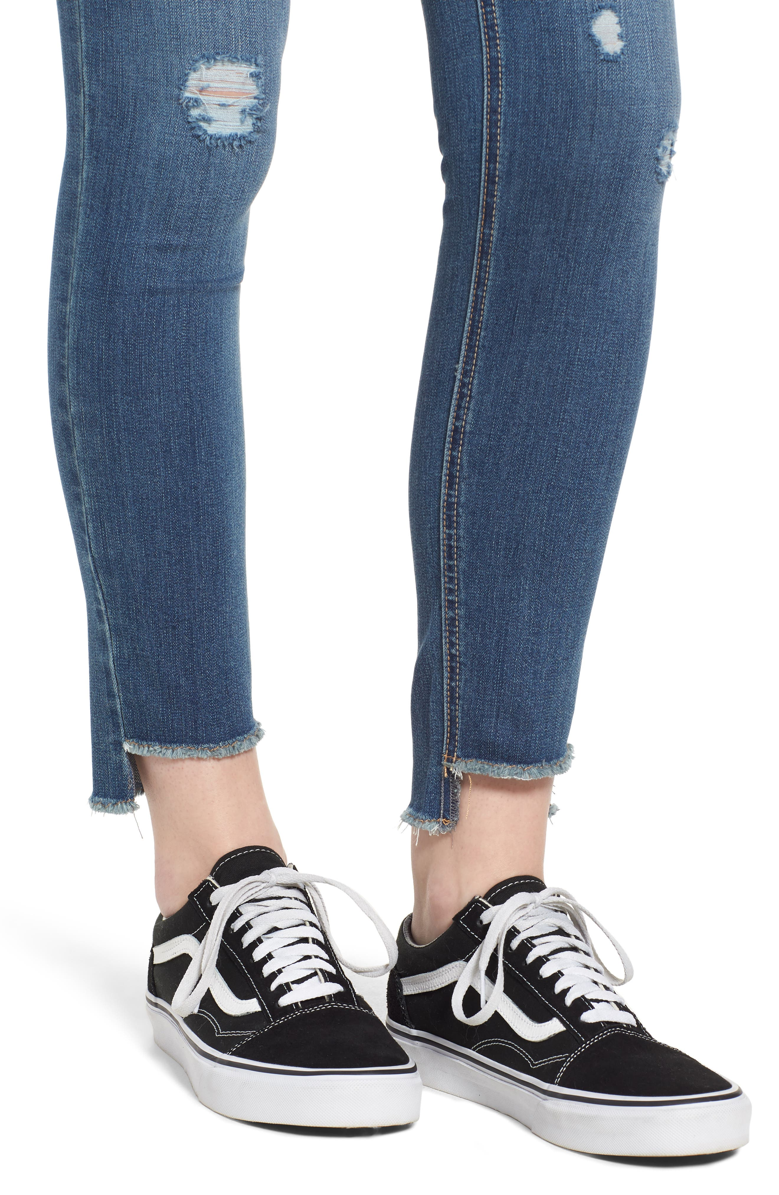 Ripped Step Hem Skinny Jeans,                             Alternate thumbnail 4, color,