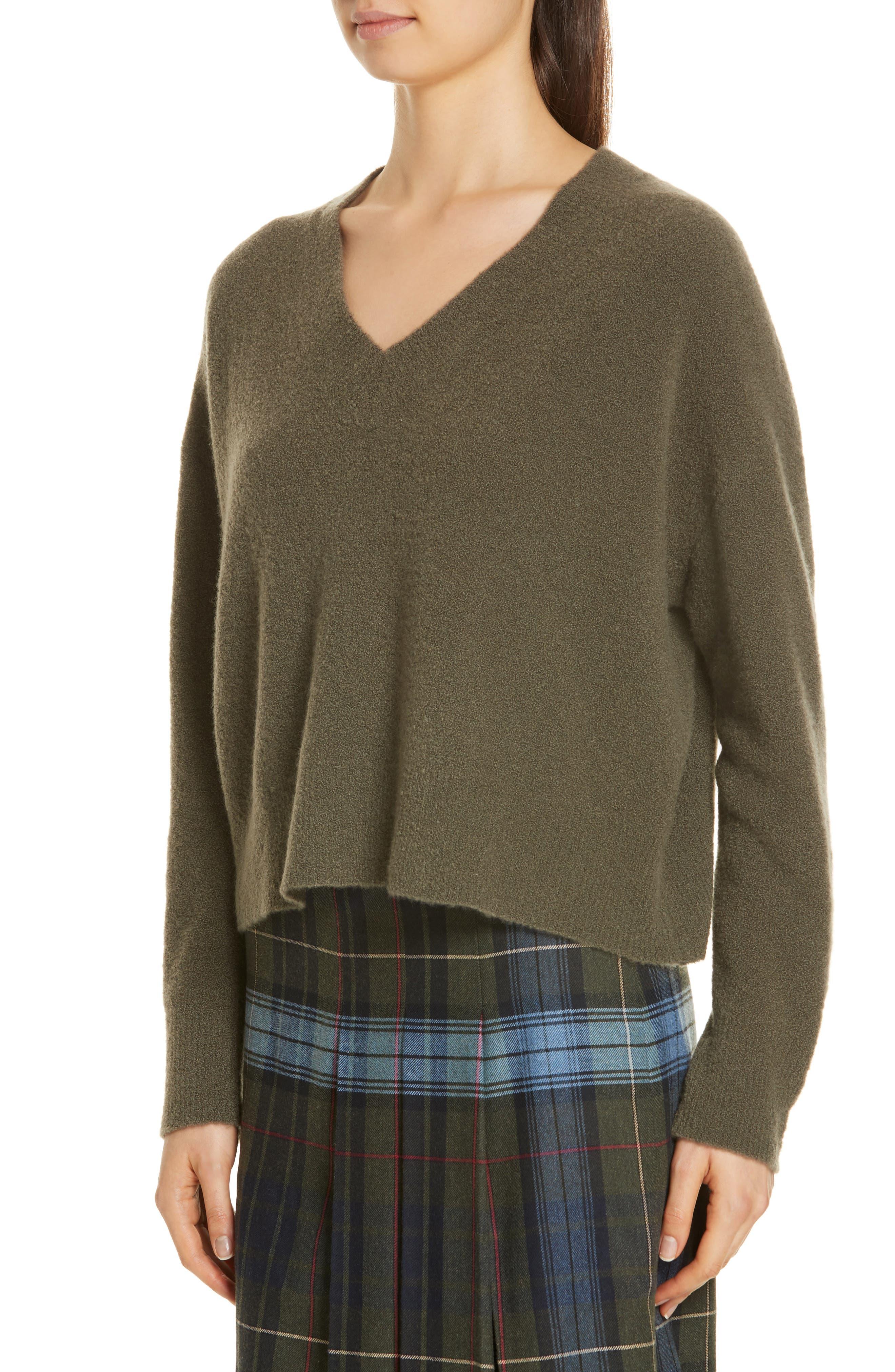 Cashmere Blend Bouclé Sweater,                             Alternate thumbnail 4, color,                             OLIVE IVY HEATHER