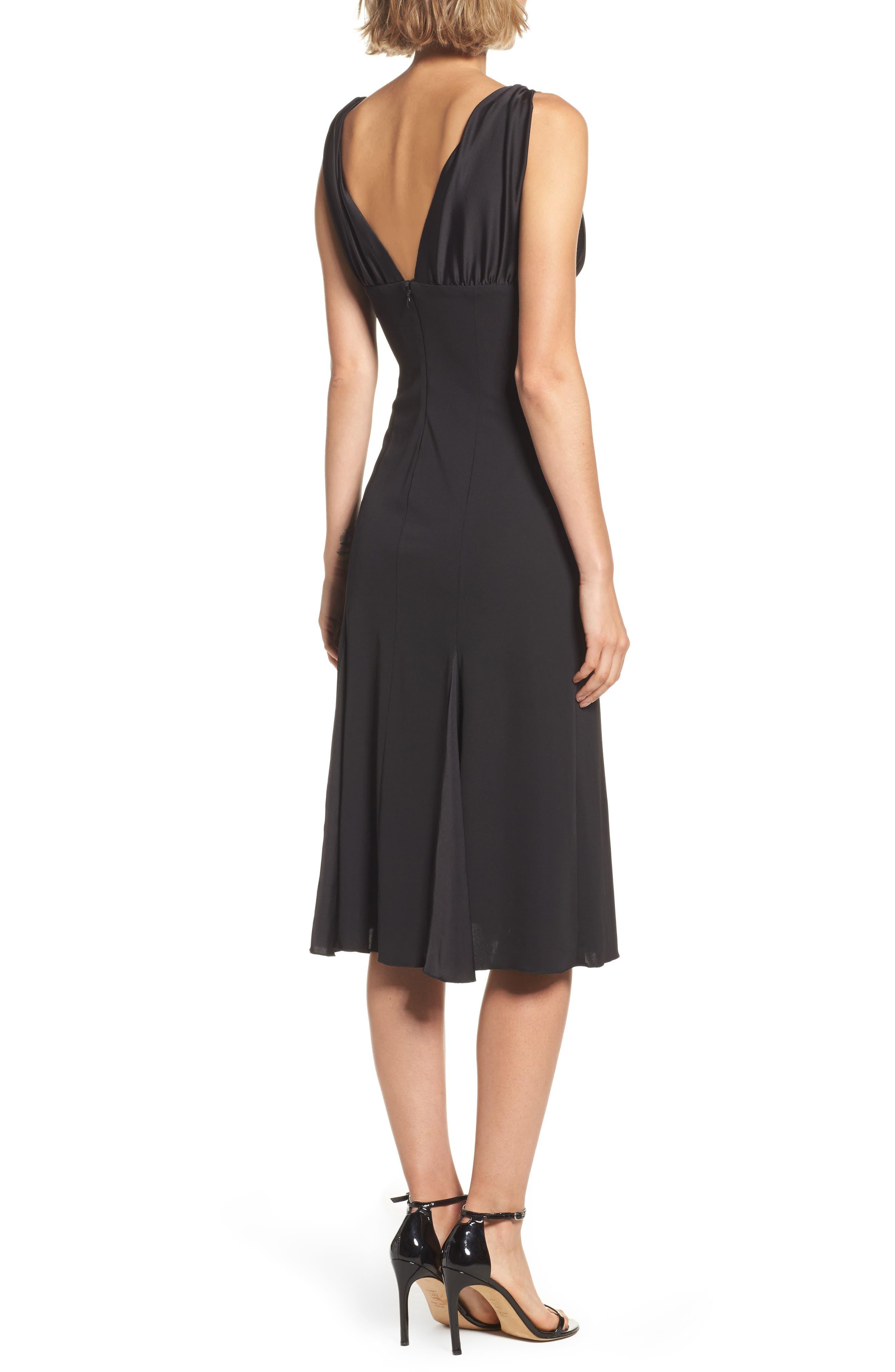 Jersey & Satin Dress,                             Alternate thumbnail 2, color,                             001