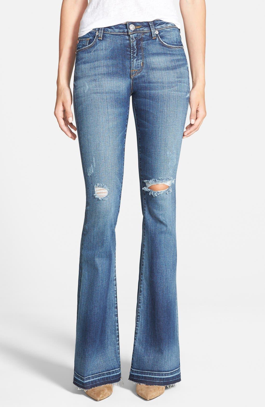 'Mia' Mid Rise Flare Jeans,                             Main thumbnail 1, color,                             423
