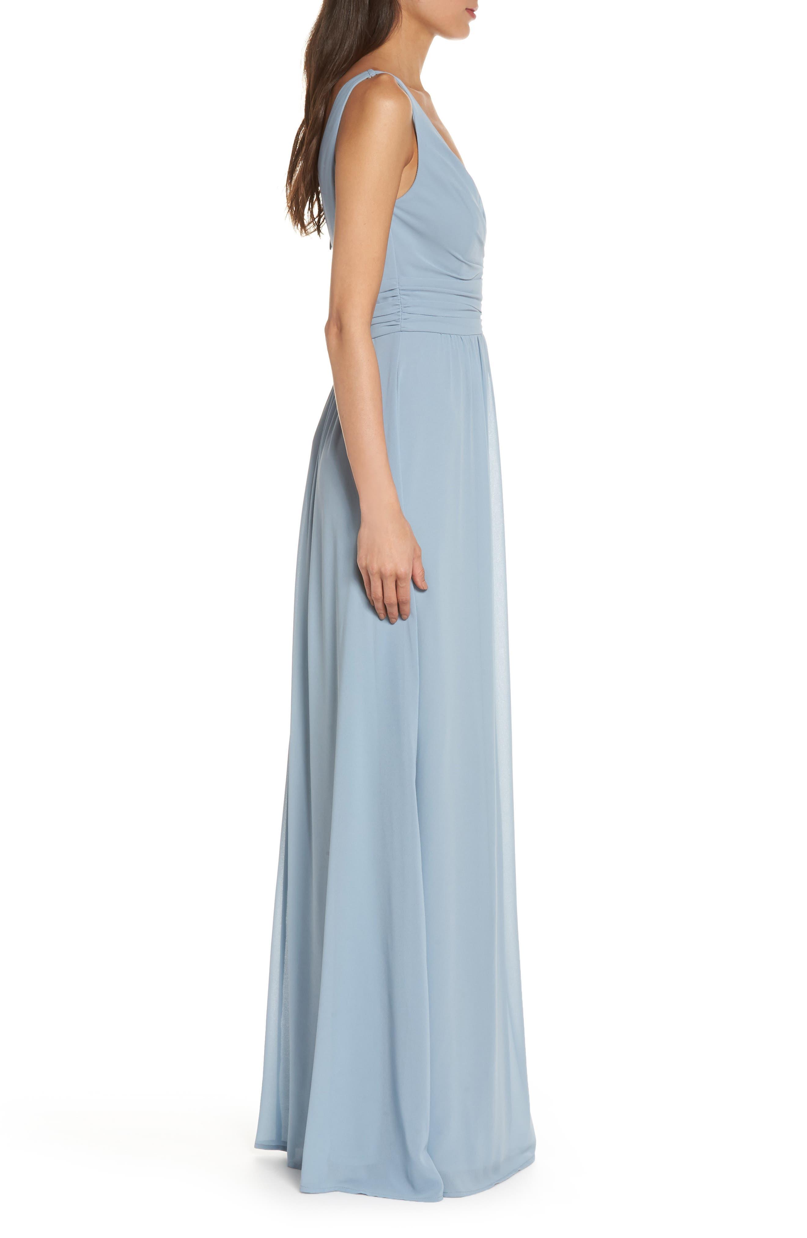V-Neck Chiffon Gown,                             Alternate thumbnail 3, color,                             LIGHT BLUE