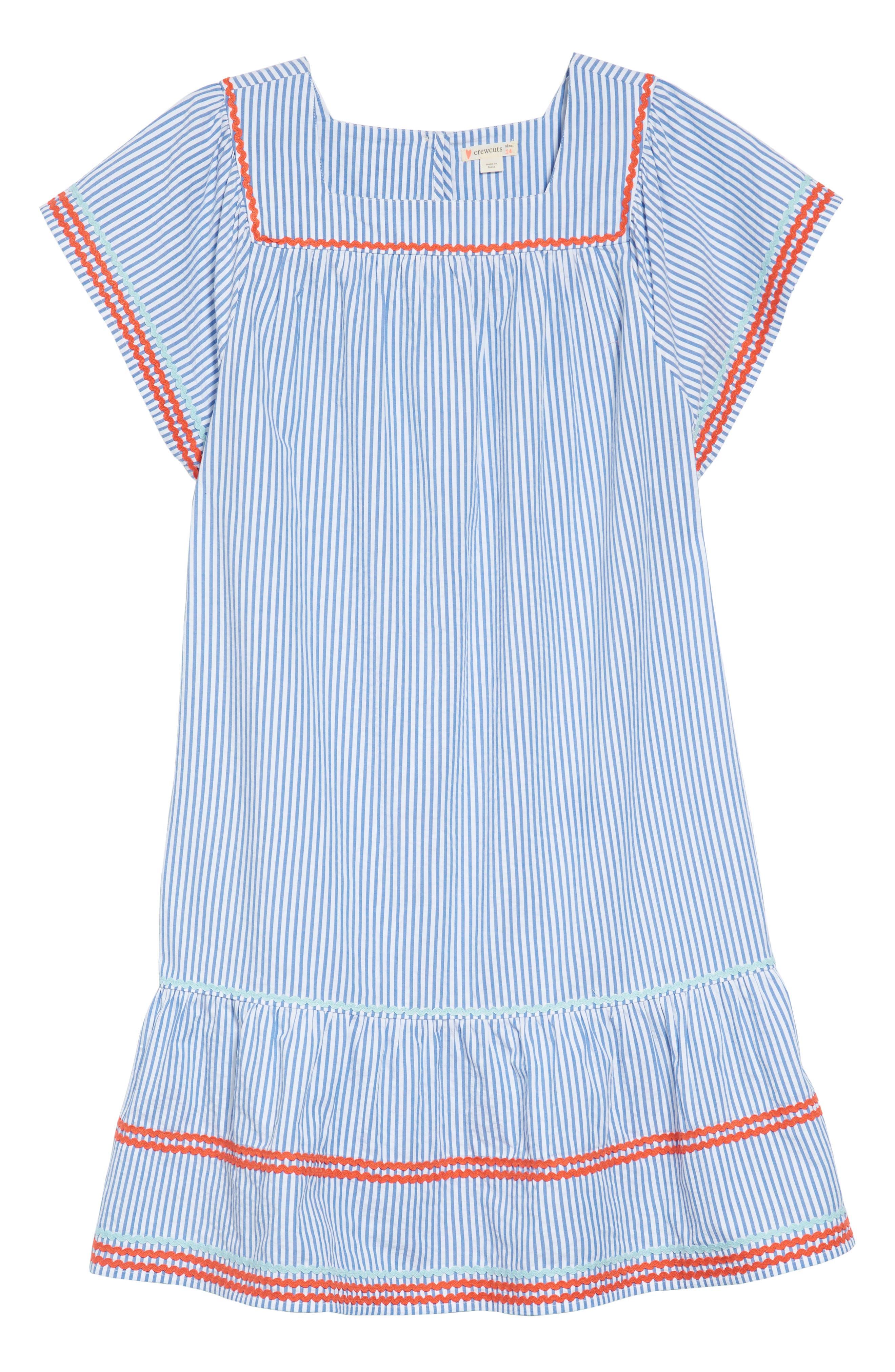 Bardot Rickrack Seersucker Dress,                             Main thumbnail 1, color,                             400