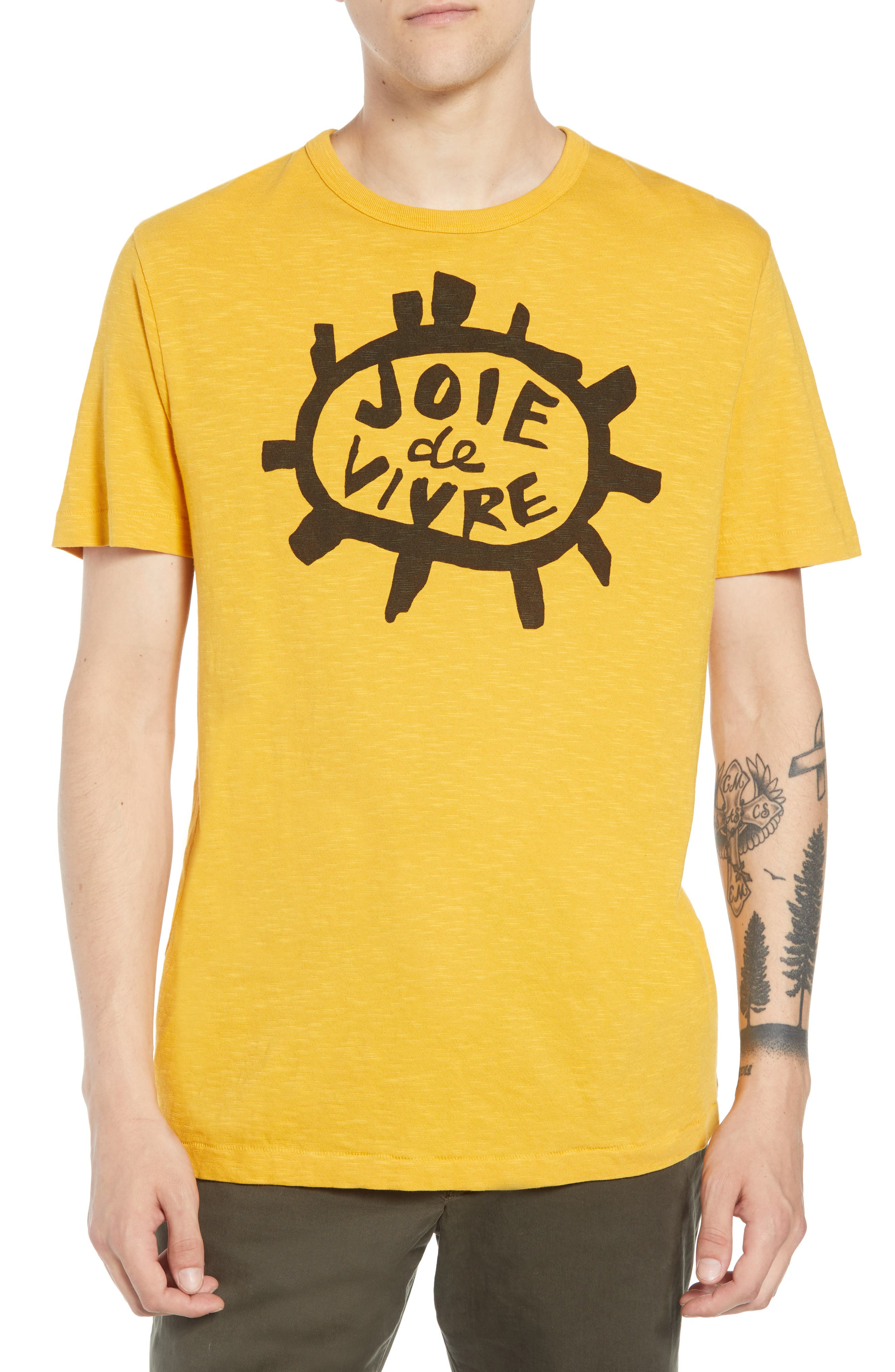 Joy of Living Slubbed T-Shirt,                             Main thumbnail 1, color,                             CALLUNA YELLOW BLACK