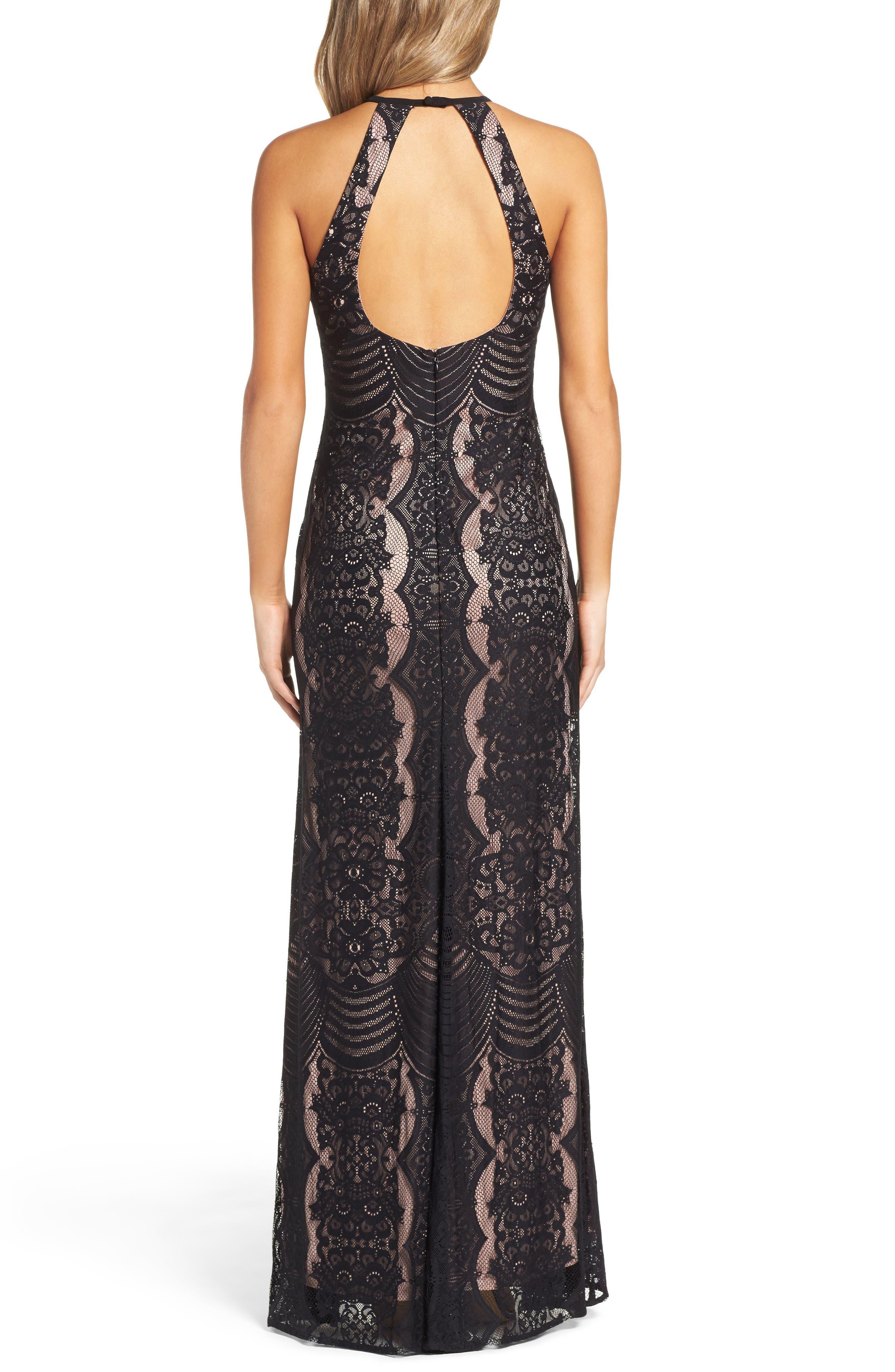 MORGAN & CO.,                             Lace Halter Gown,                             Alternate thumbnail 2, color,                             BLACK/ NUDE