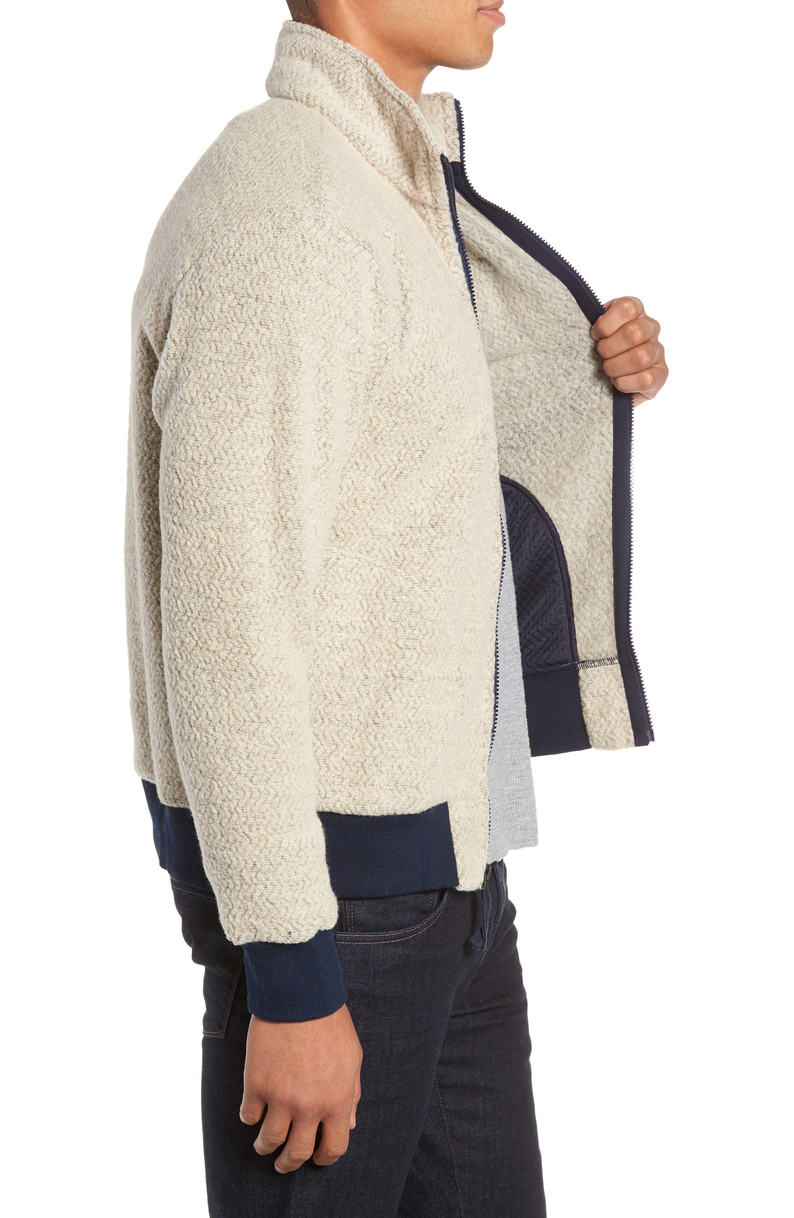 Woolyester Fleece Jacket,                             Alternate thumbnail 3, color,                             OATMEAL HEATHER