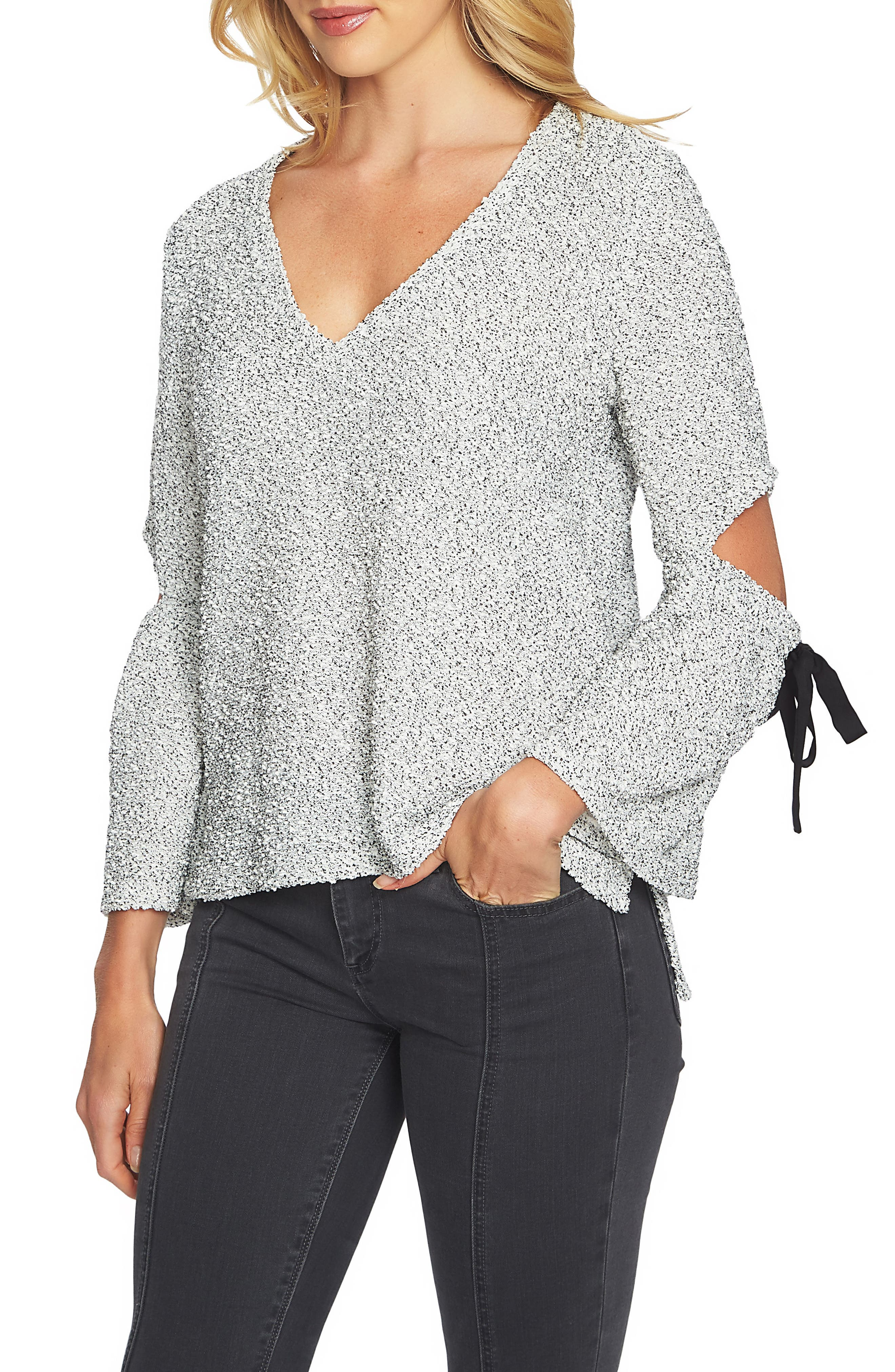 Cutout Tie Sleeve Sweater,                             Main thumbnail 1, color,