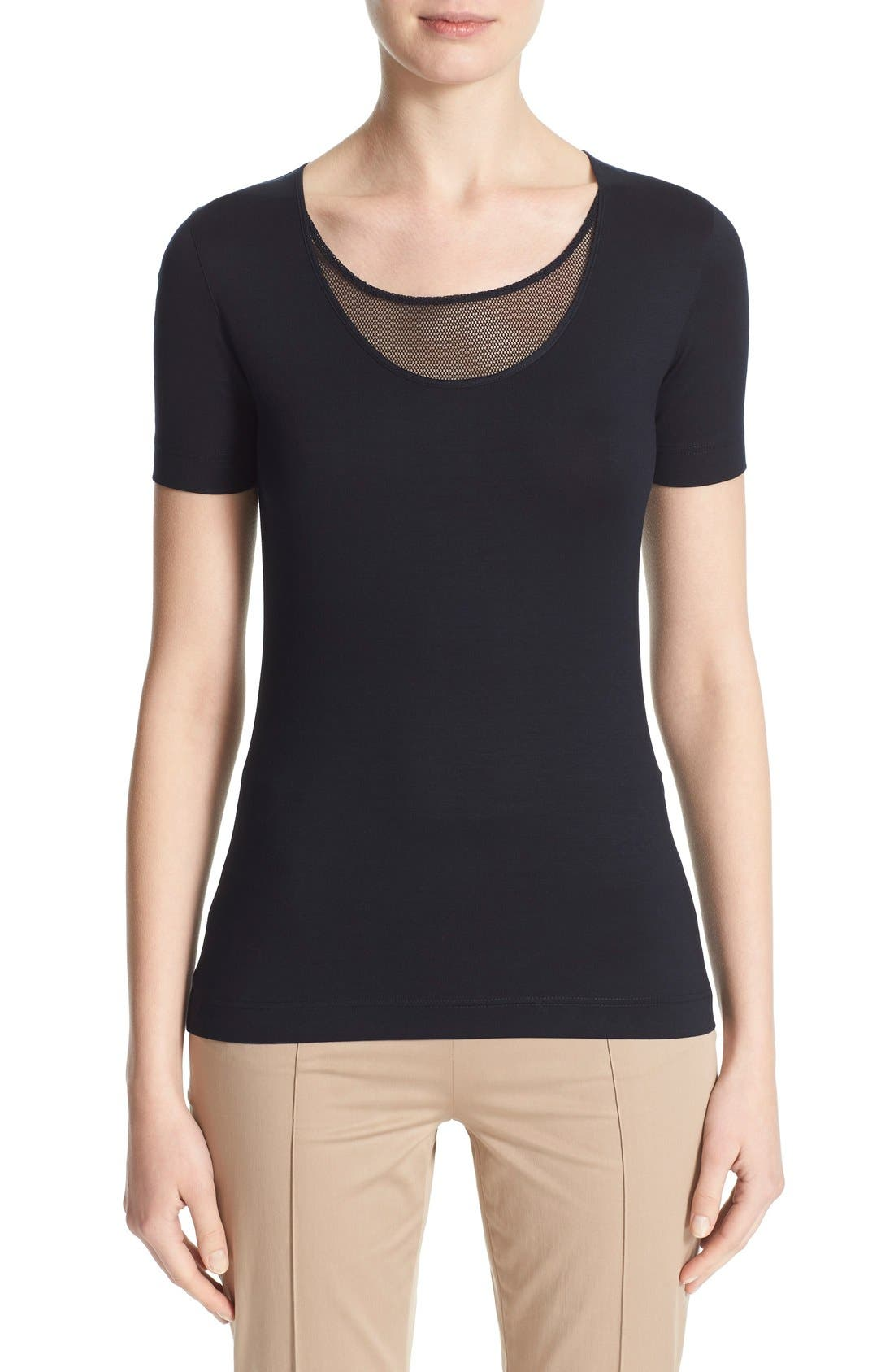 Mesh Inset Scoop Neck Tee,                             Main thumbnail 1, color,                             NAVY