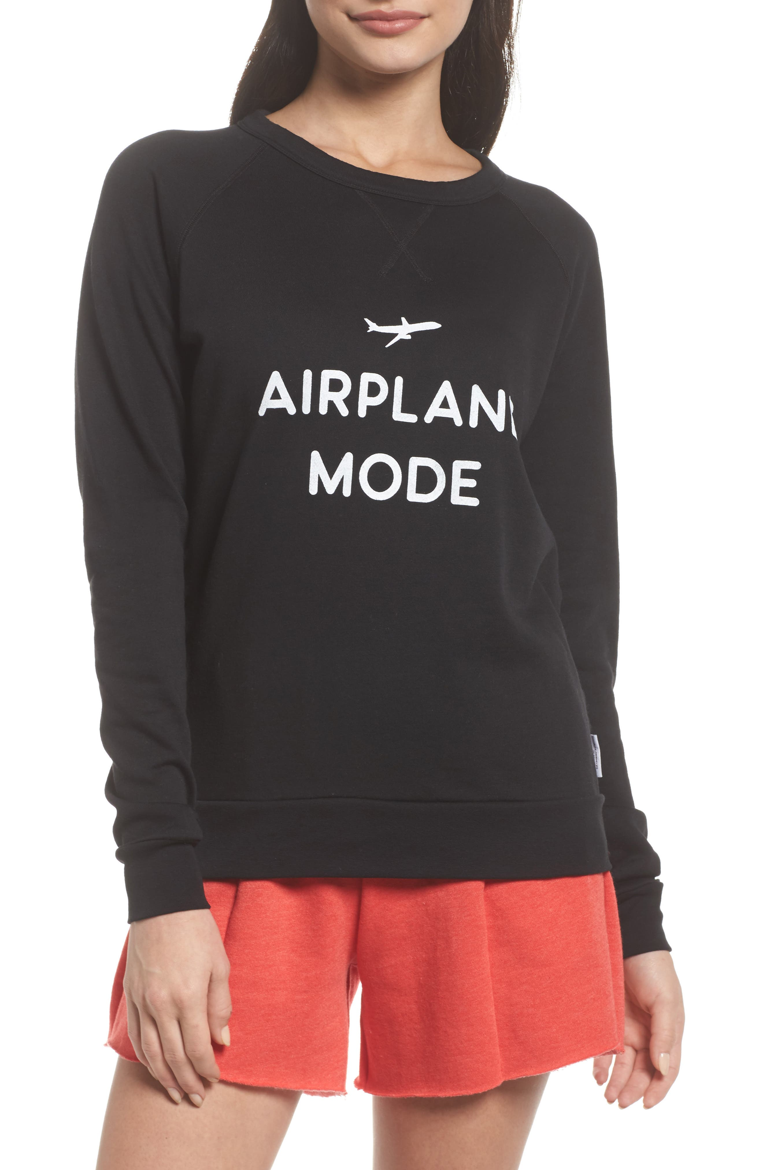THE LAUNDRY ROOM Airplane Mode Cozy Lounge Sweatshirt, Main, color, 001