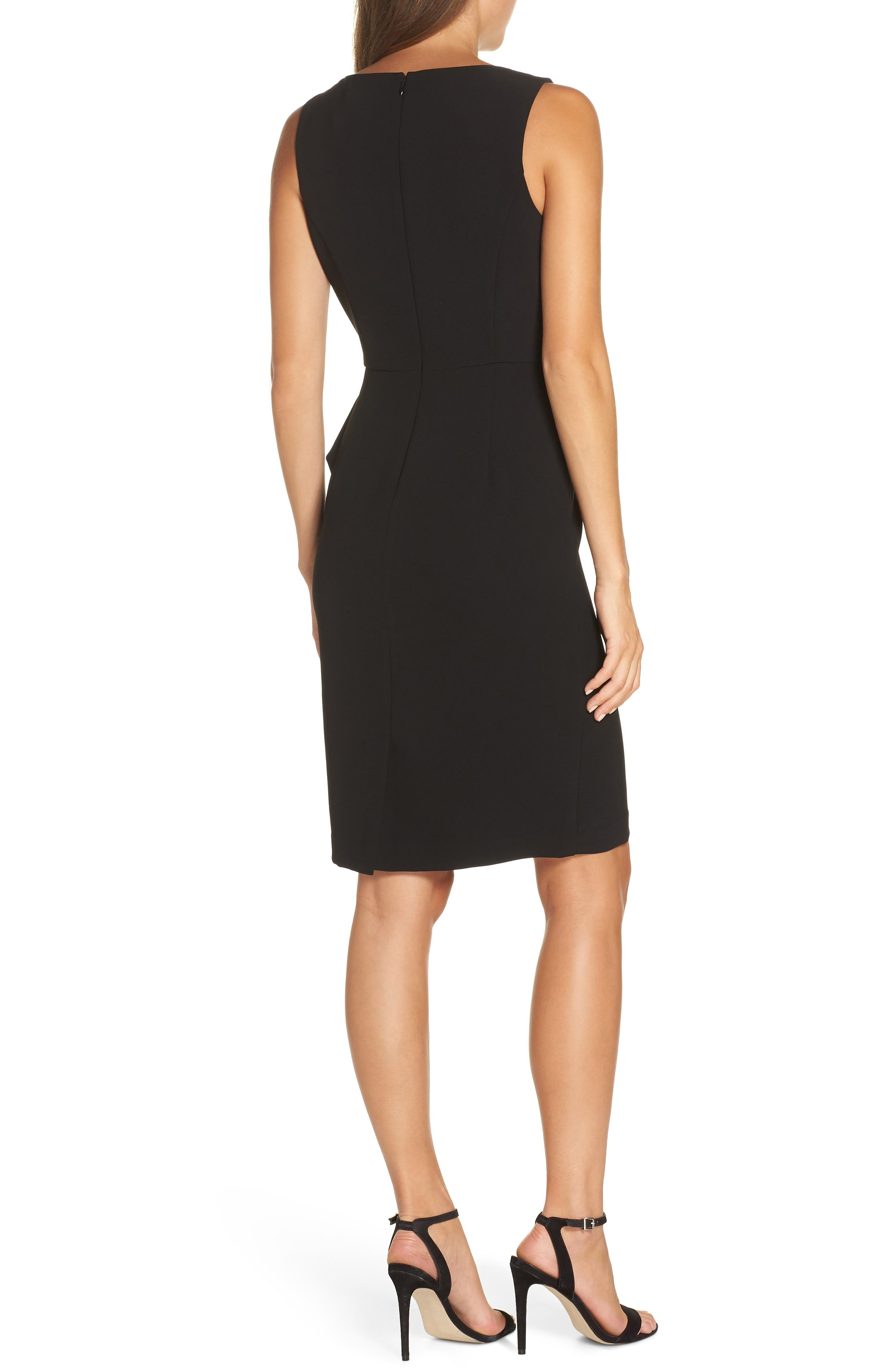 Faux Wrap Sheath Dress,                             Alternate thumbnail 2, color,                             BLACK