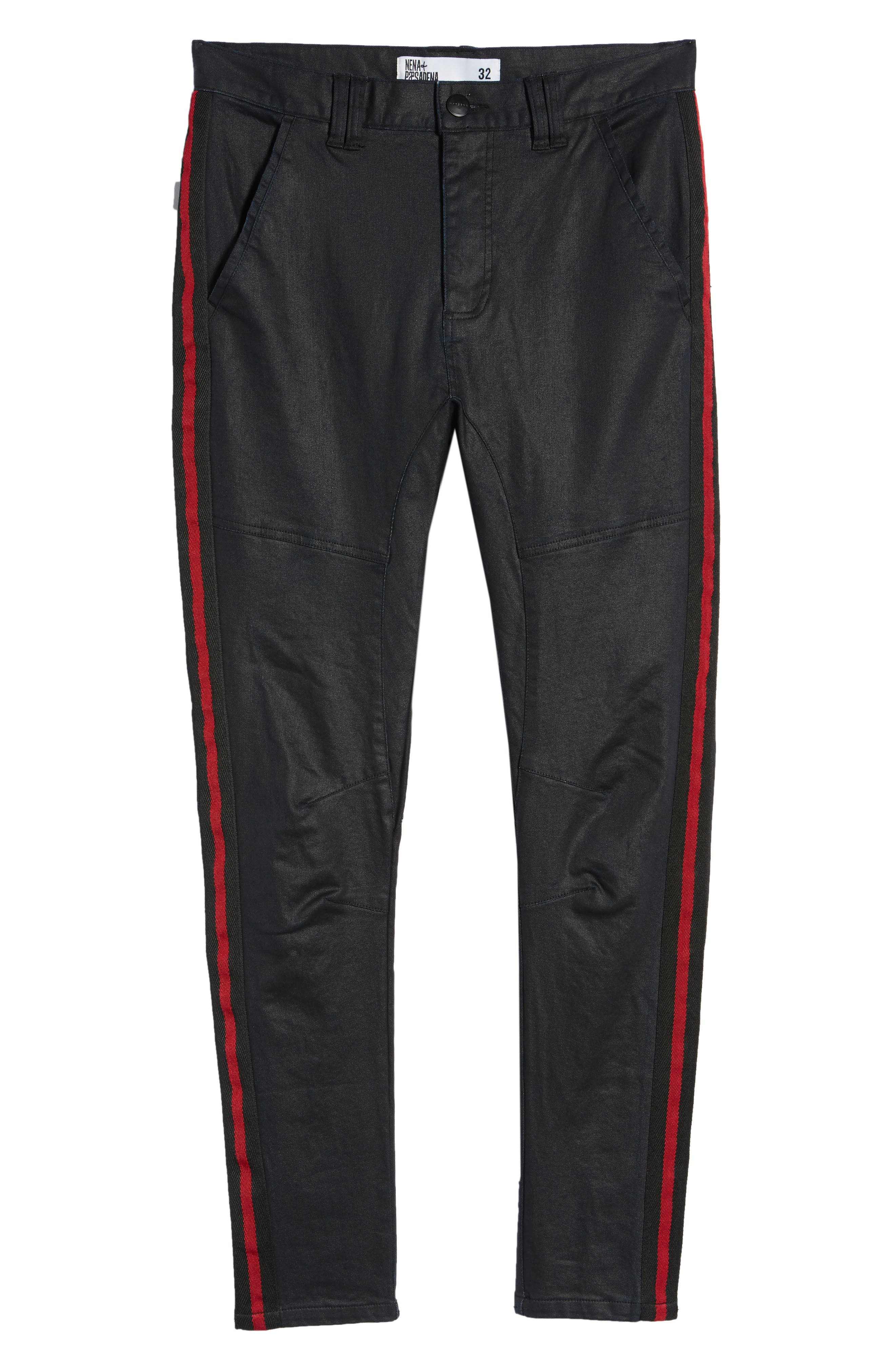 Baseline Taped Skinny Fit Jeans,                             Alternate thumbnail 6, color,                             WAX BLACK RED STRIPE