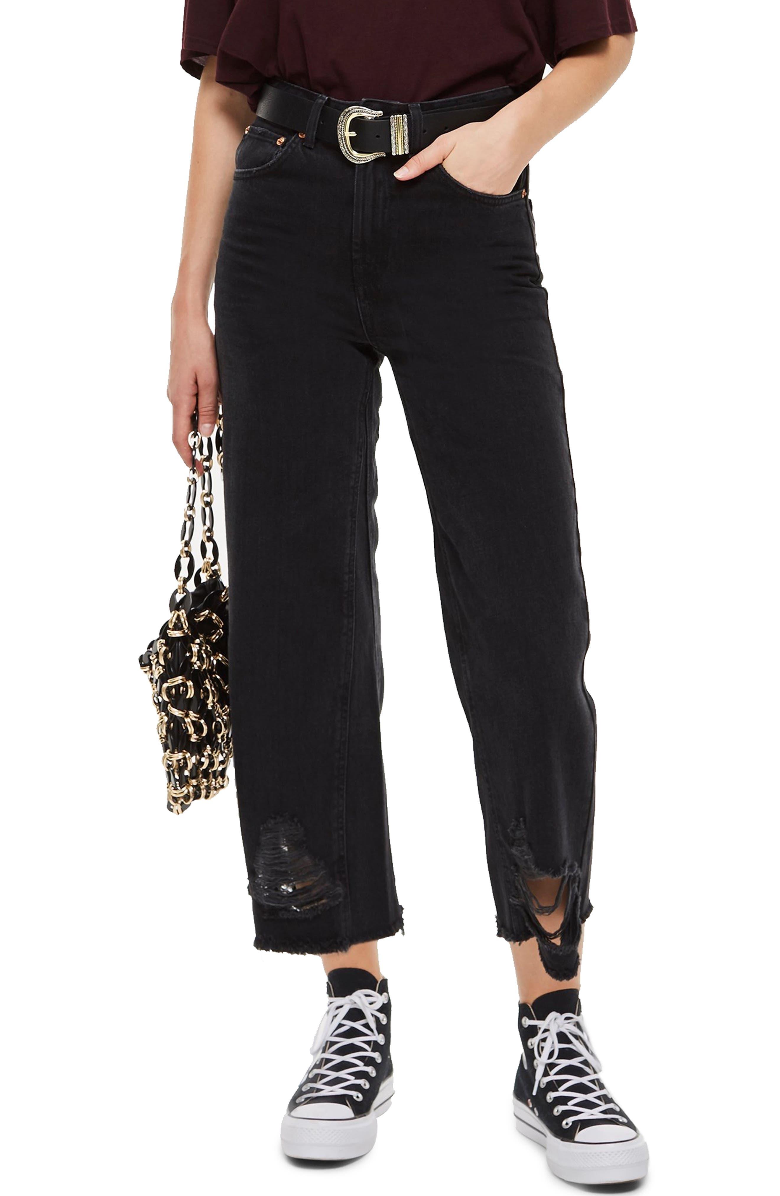 Crop Ladder Hem Jeans,                             Main thumbnail 1, color,                             WASHED BLACK