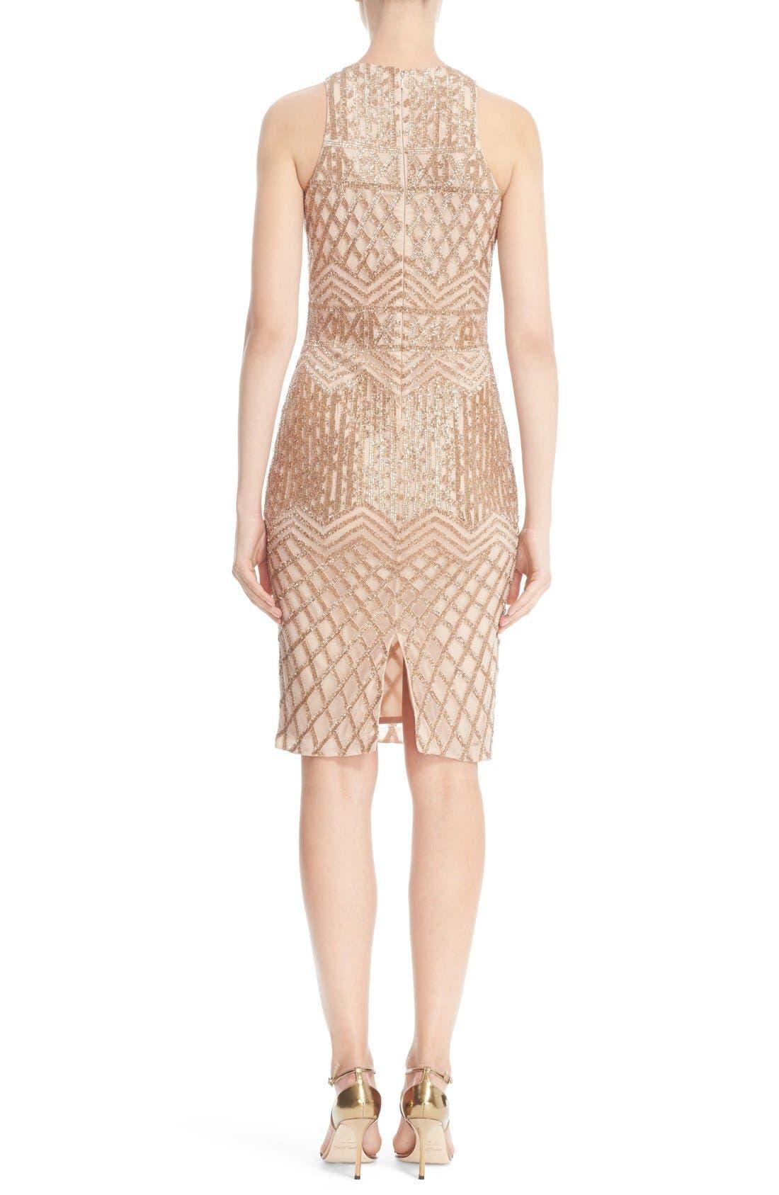 Beaded High Neck Sheath Dress,                             Alternate thumbnail 2, color,                             710