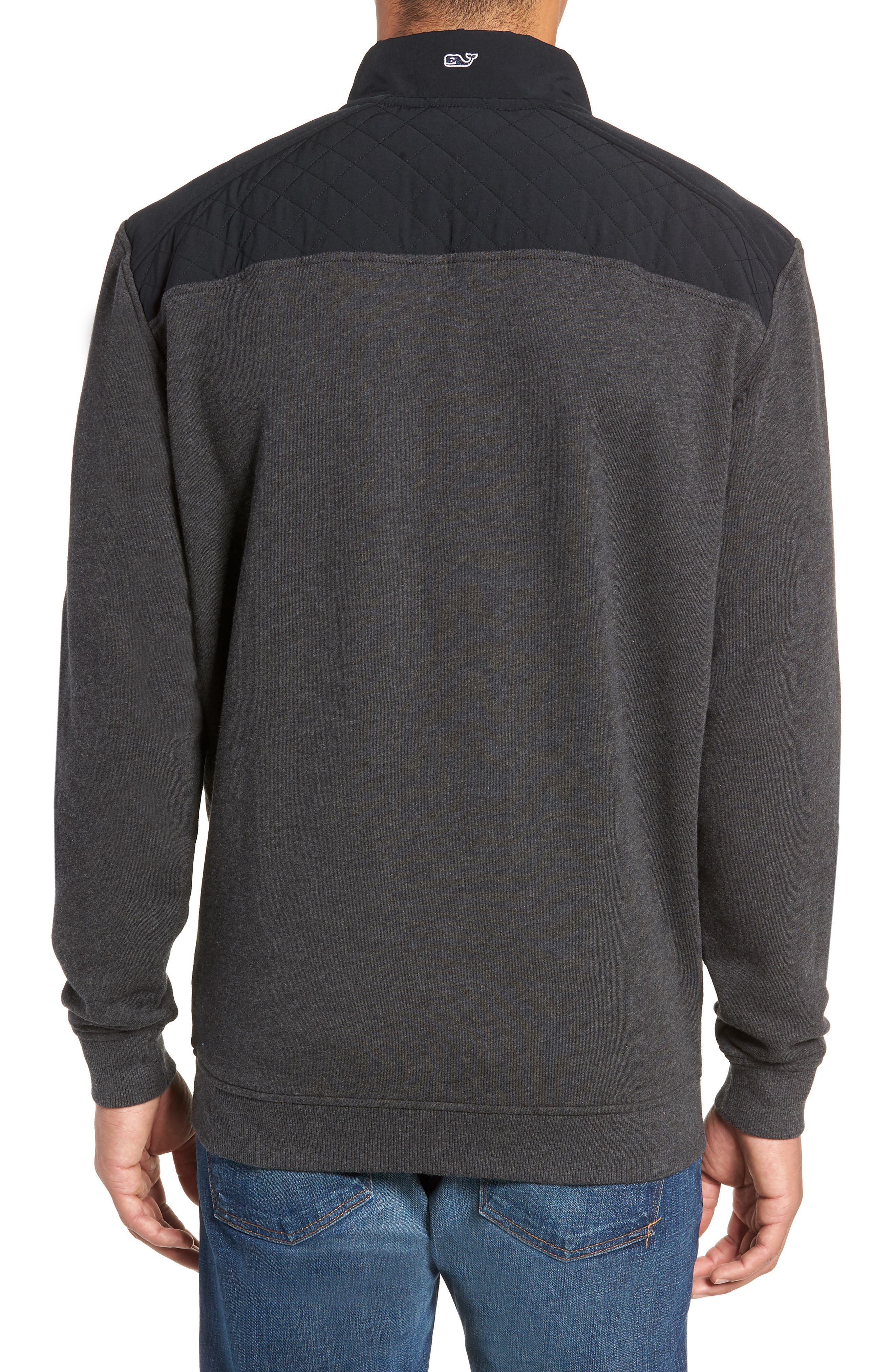 Shep Colorblock Quilted Pullover,                             Alternate thumbnail 2, color,                             JET BLACK