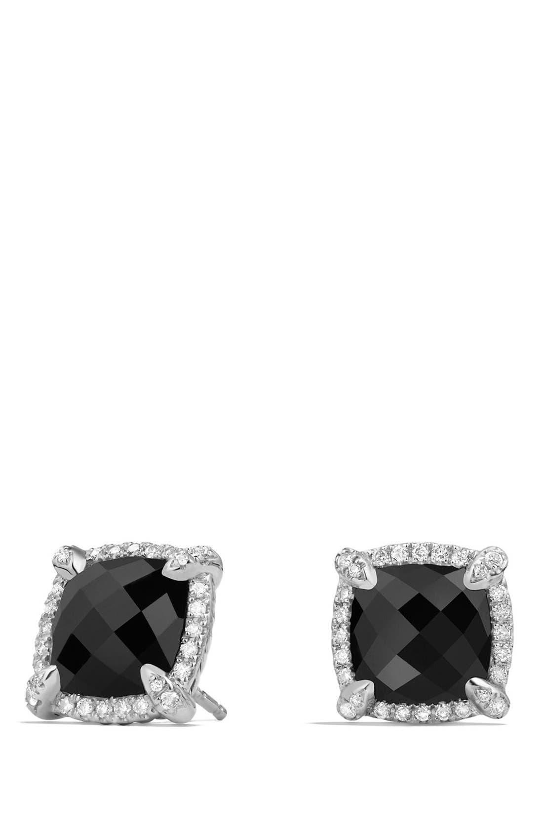 'Châtelaine' Pavé Bezel Stud Earrings with Diamonds,                         Main,                         color, BLACK ONYX