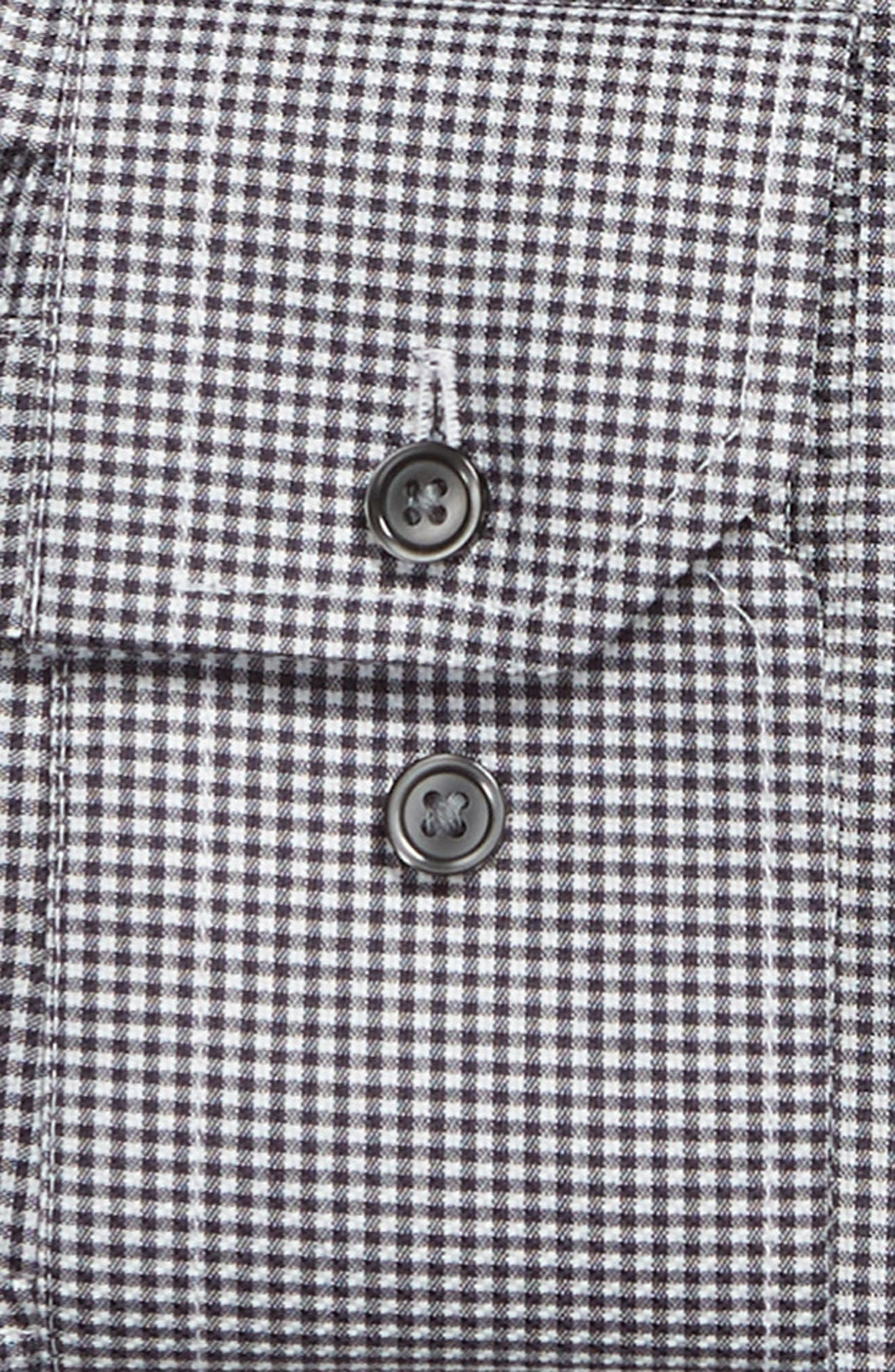 Trim Fit No-Iron Solid Dress Shirt,                             Alternate thumbnail 5, color,                             NAVY CHARCOAL