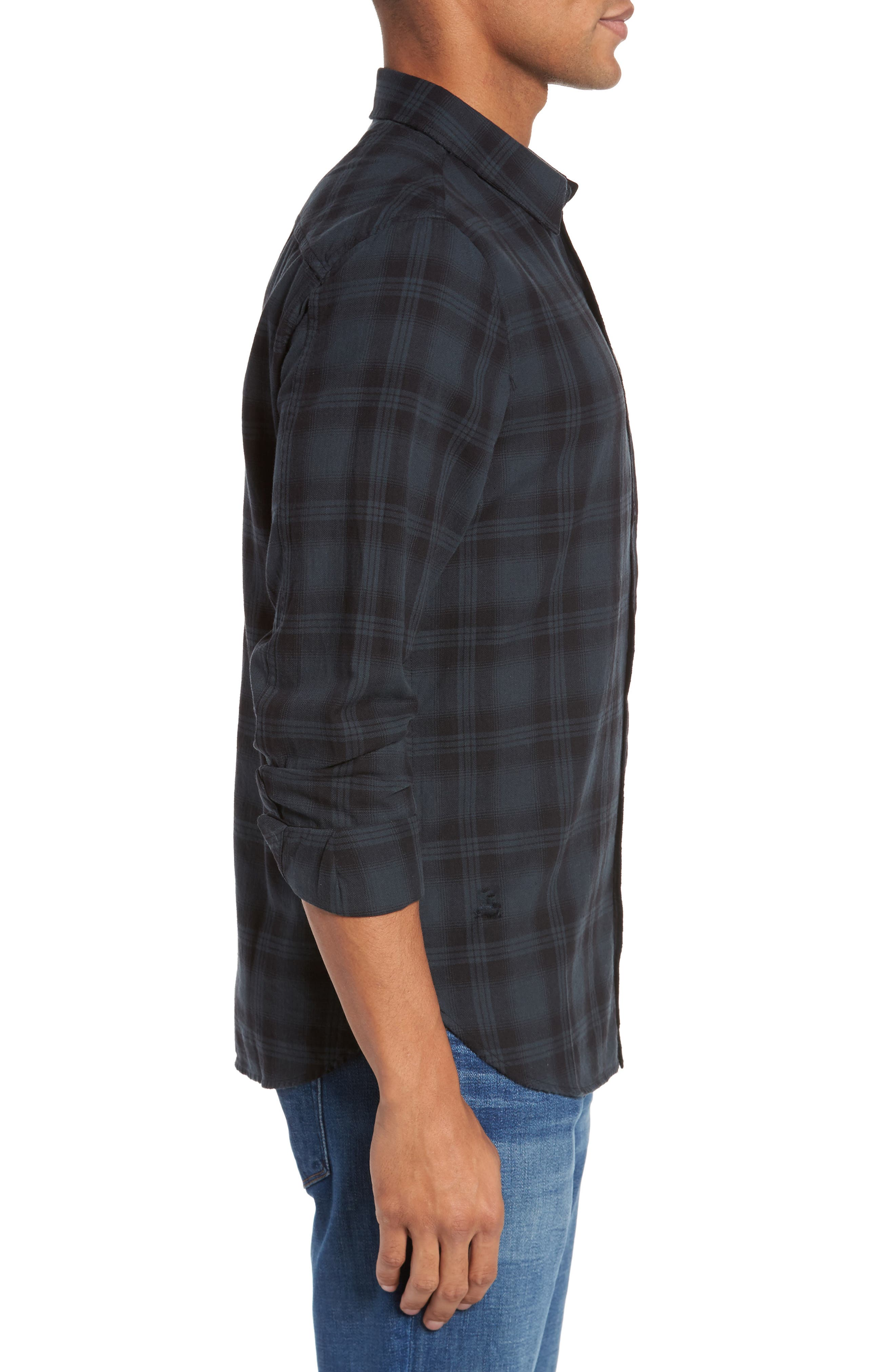 Colton Slim Fit Plaid Sport Shirt,                             Alternate thumbnail 3, color,                             487