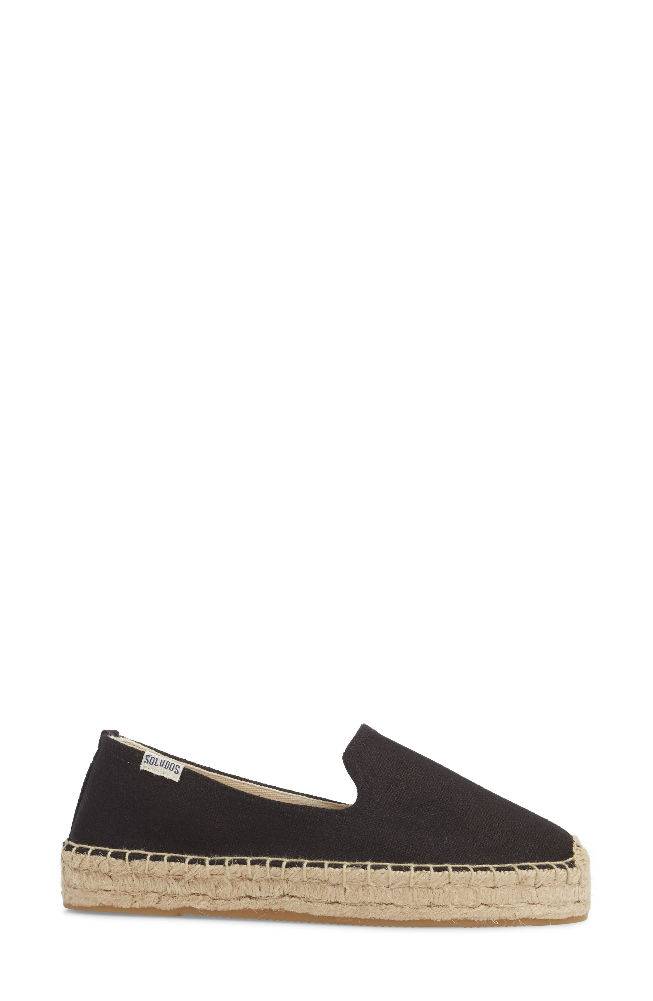 Platform Espadrille Flat,                             Alternate thumbnail 3, color,                             BLACK CANVAS