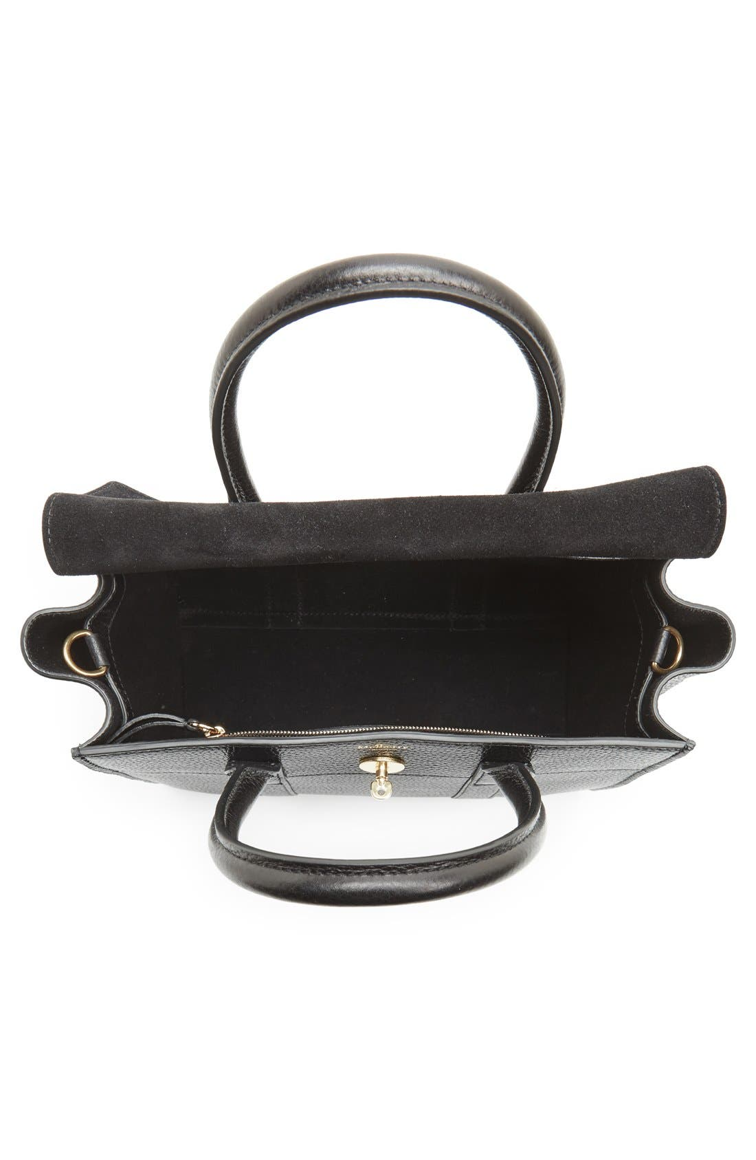 'Small Bayswater' Leather Satchel,                             Alternate thumbnail 4, color,                             001
