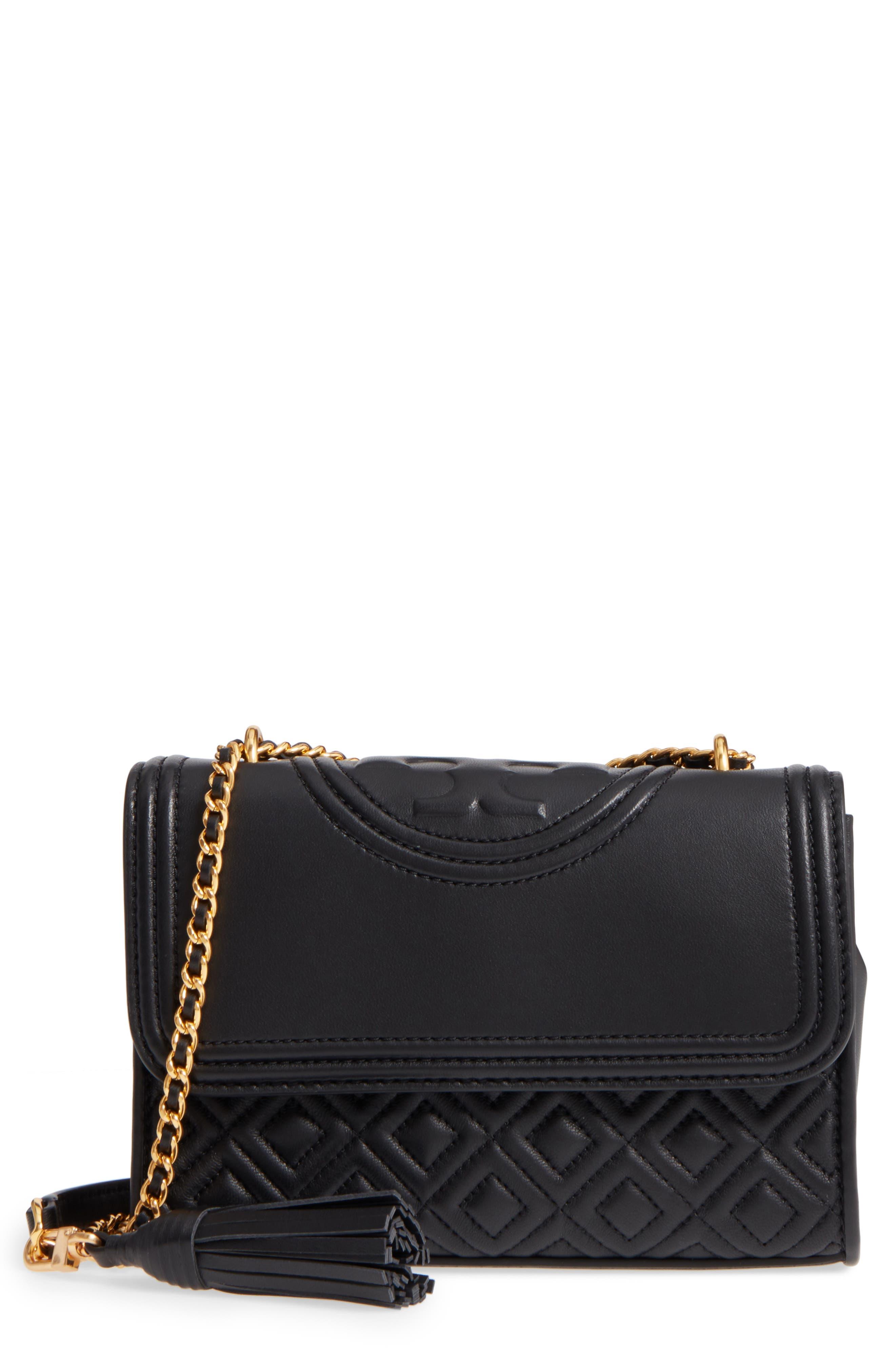 Small Fleming Leather Convertible Shoulder Bag,                             Main thumbnail 1, color,                             BLACK