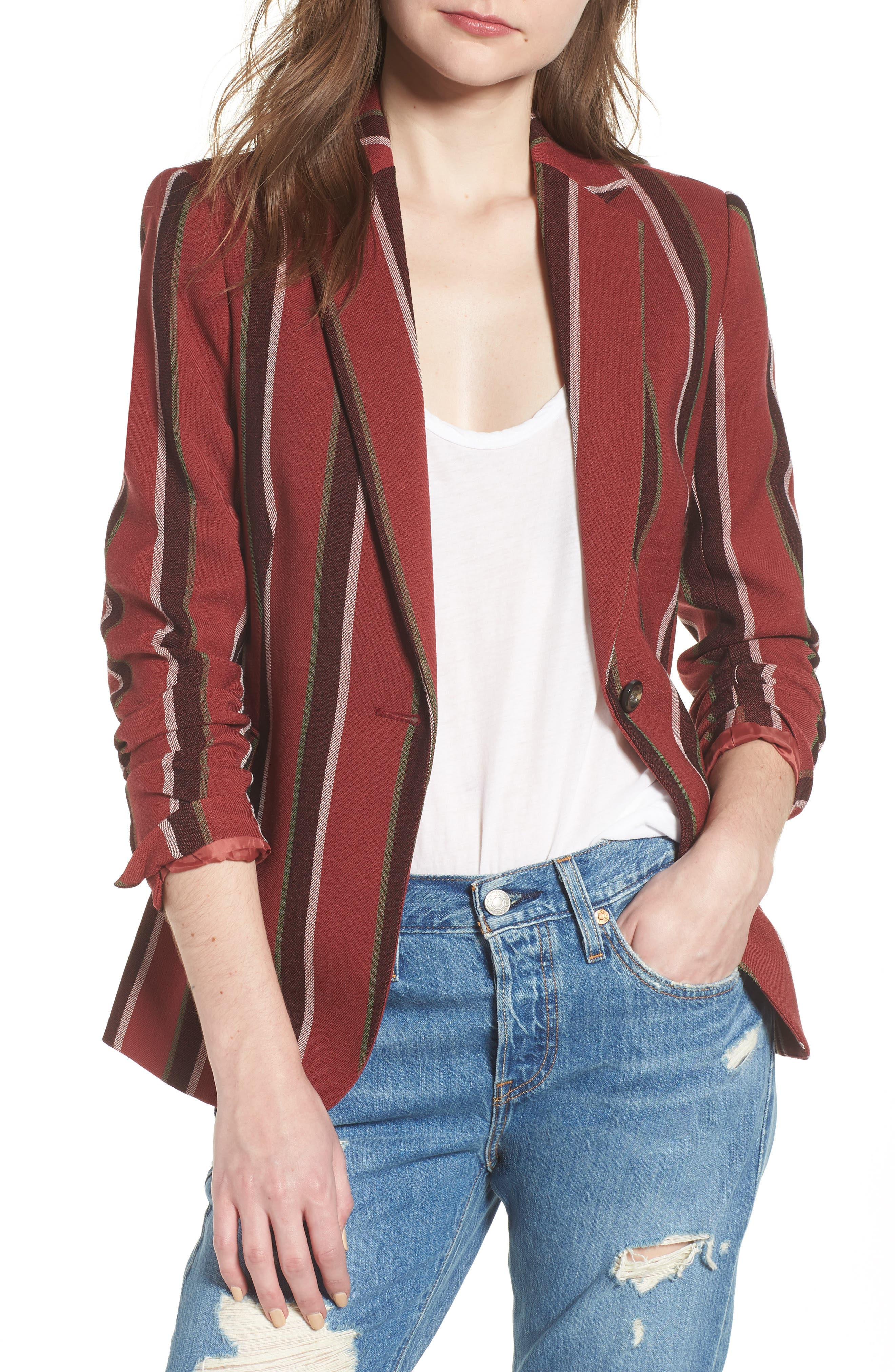 Stripe Blazer,                         Main,                         color, 600