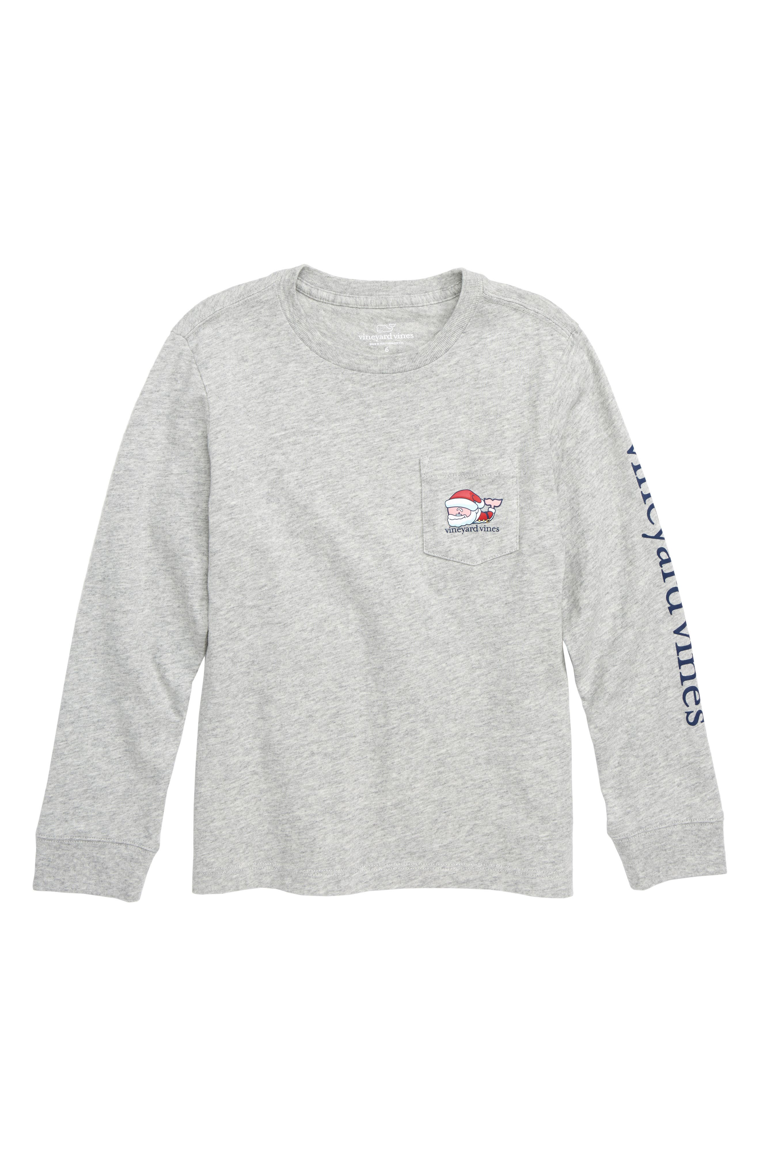 Boys Vineyard Vines Naughty Or Nice Santa Whale Pocket TShirt Size 6  Grey