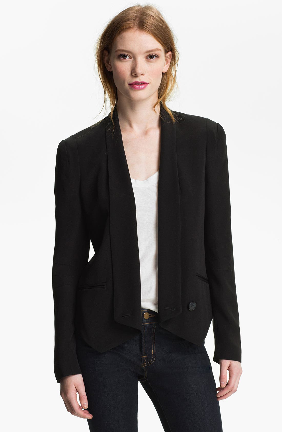 'Becky' Silk Jacket,                         Main,                         color, 001