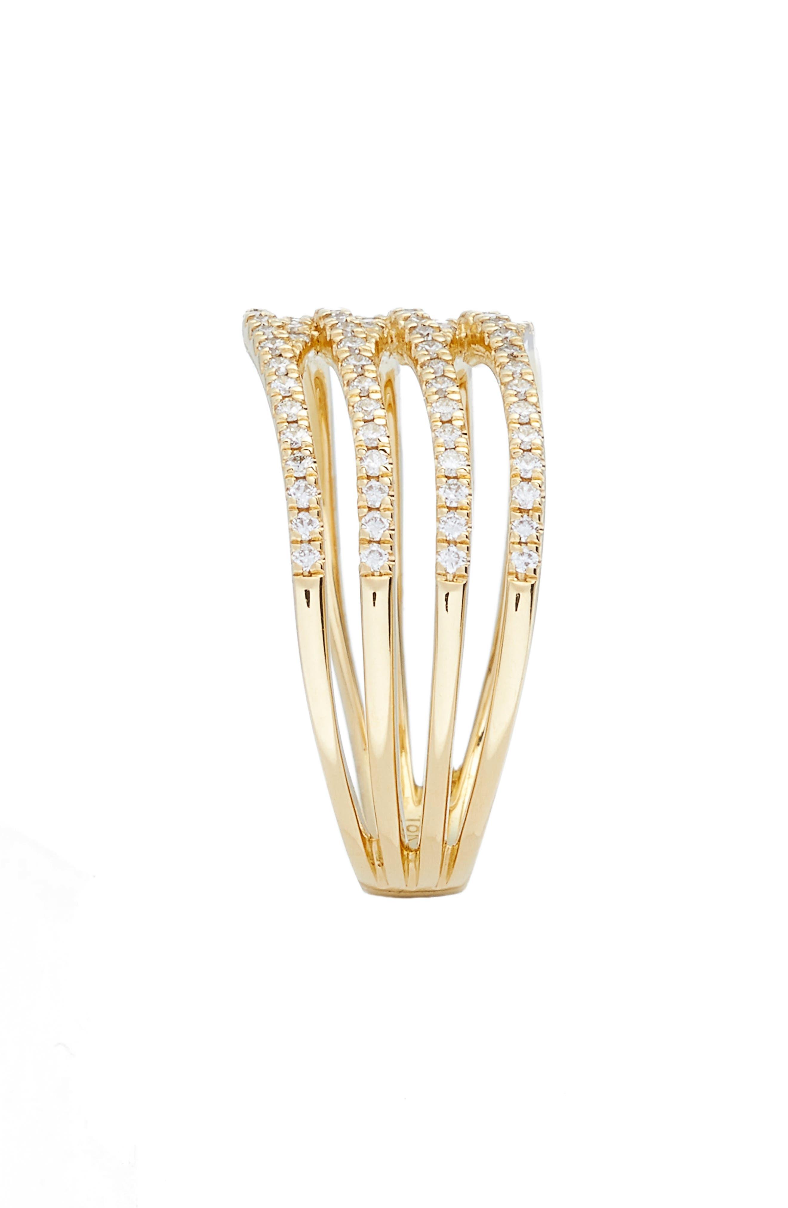 Kiera Four-Row Diamond Ring,                             Alternate thumbnail 3, color,                             YELLOW GOLD