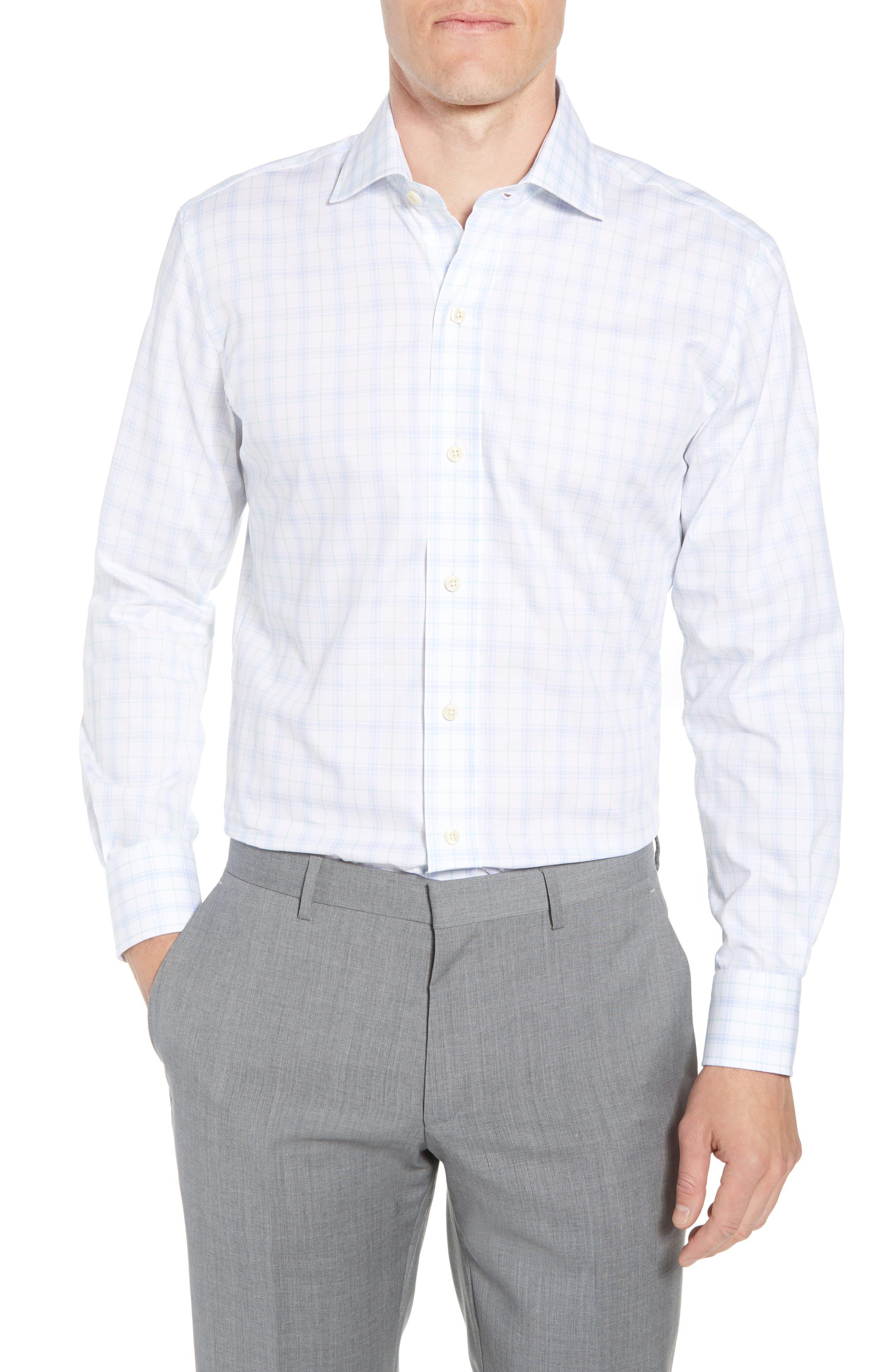 Lymann Trim Fit Plaid Dress Shirt,                         Main,                         color, 410