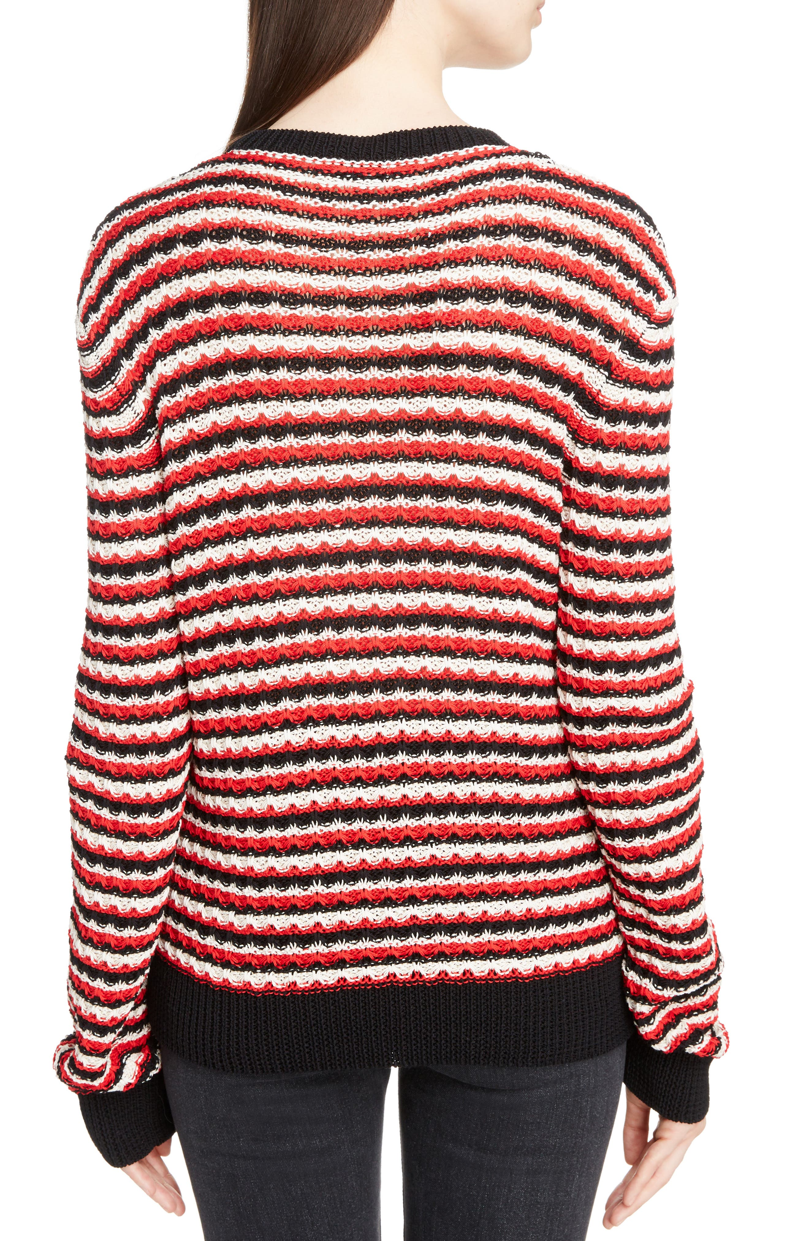 Crochet Stripe Sweater,                             Alternate thumbnail 2, color,                             600