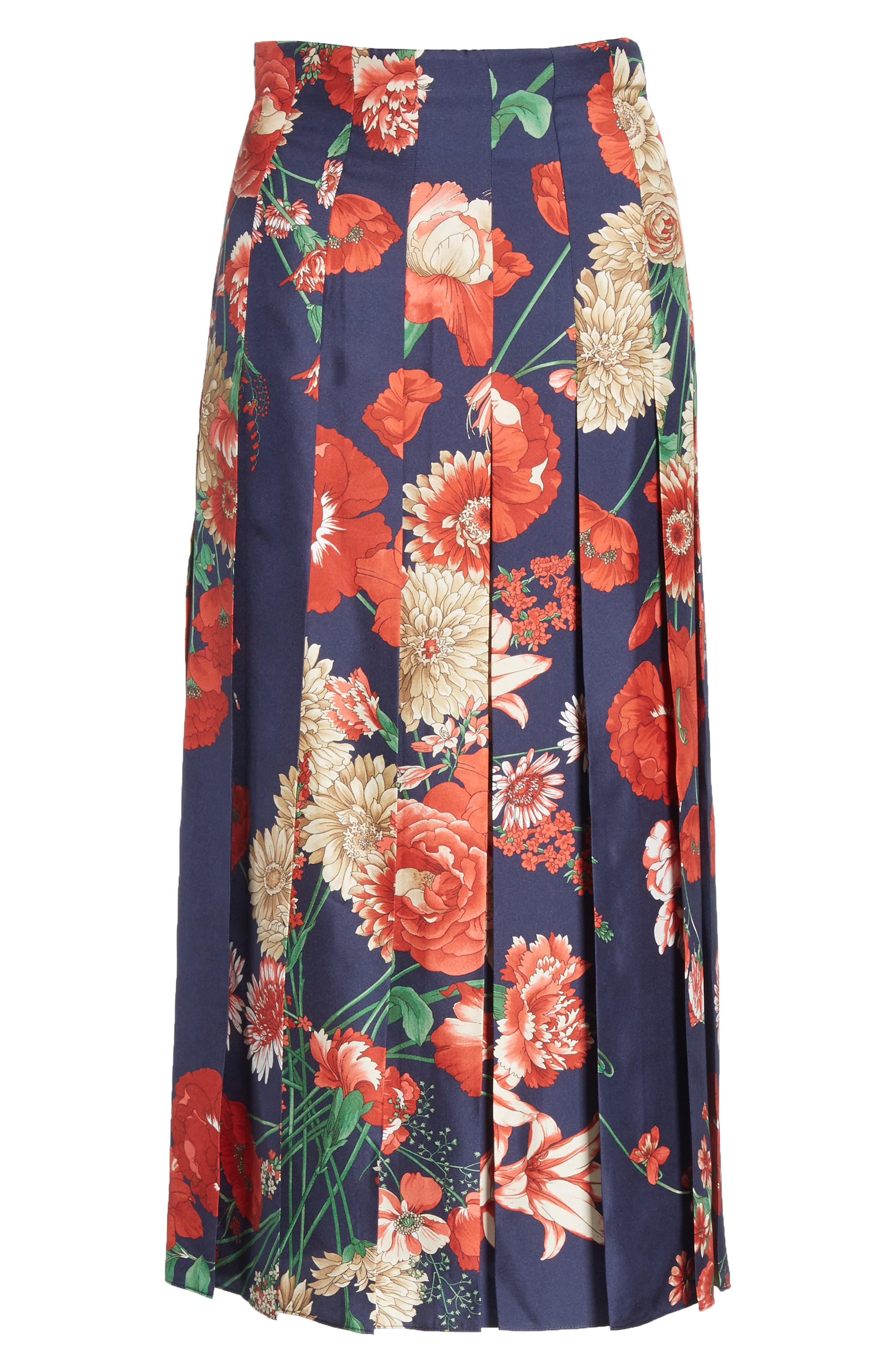 Spring Bouquet Print Silk Pleated Skirt,                             Alternate thumbnail 6, color,                             BLUE/ RED PRINT
