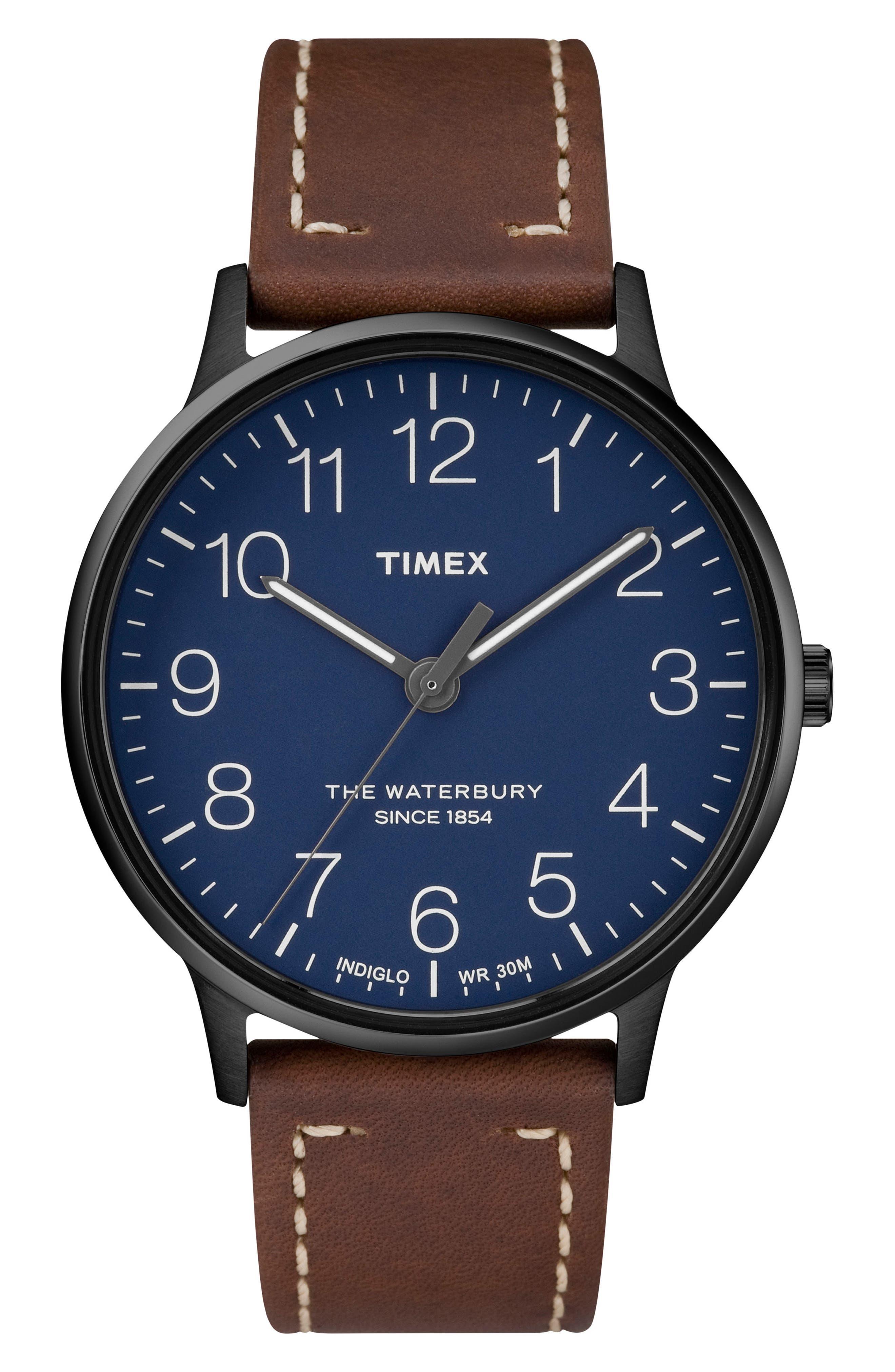 Waterbury Leather Strap Watch, 40mm,                             Main thumbnail 1, color,                             BROWN/ BLUE/ GUNMETAL