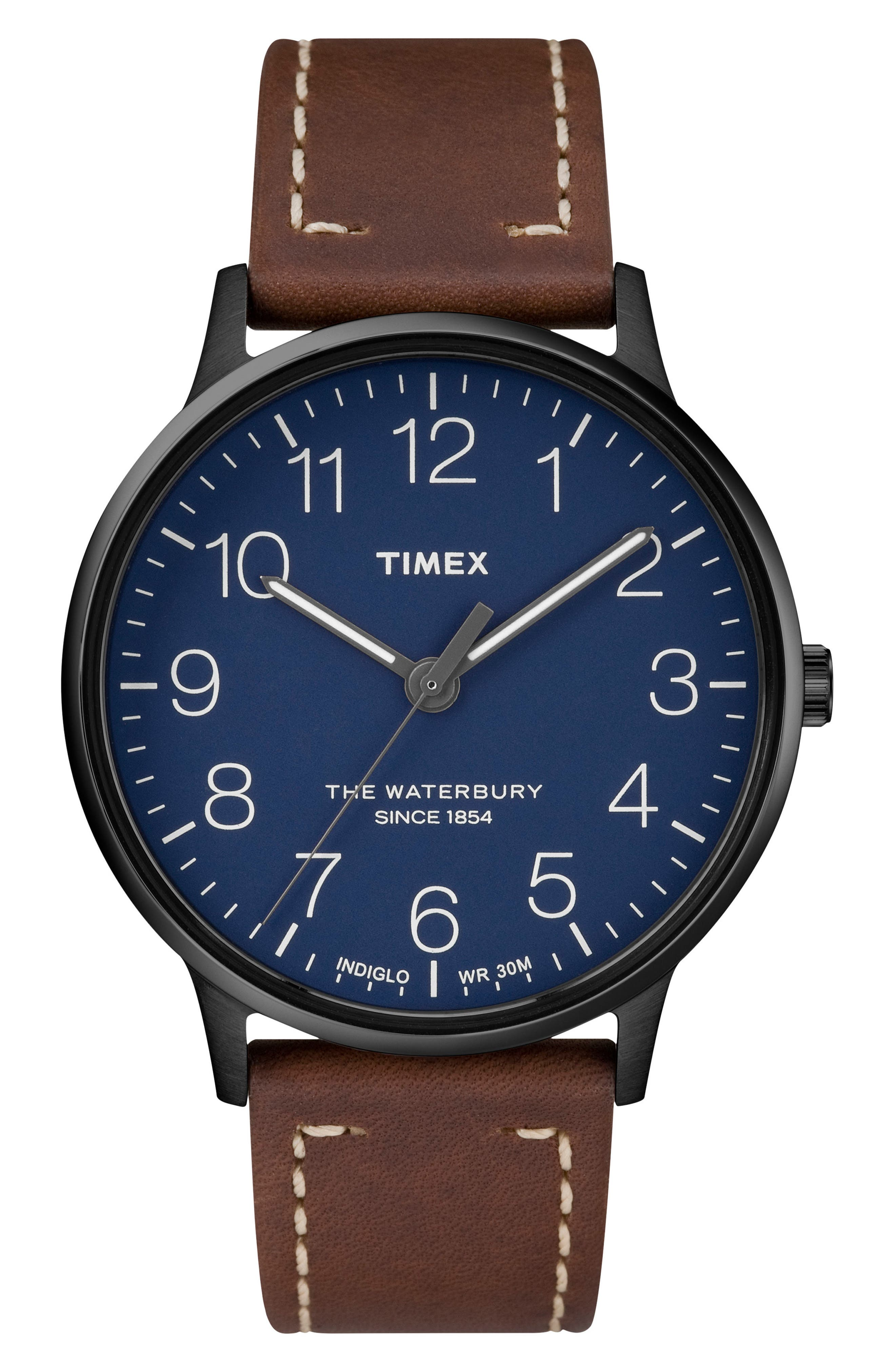 Waterbury Leather Strap Watch, 40mm,                         Main,                         color, BROWN/ BLUE/ GUNMETAL