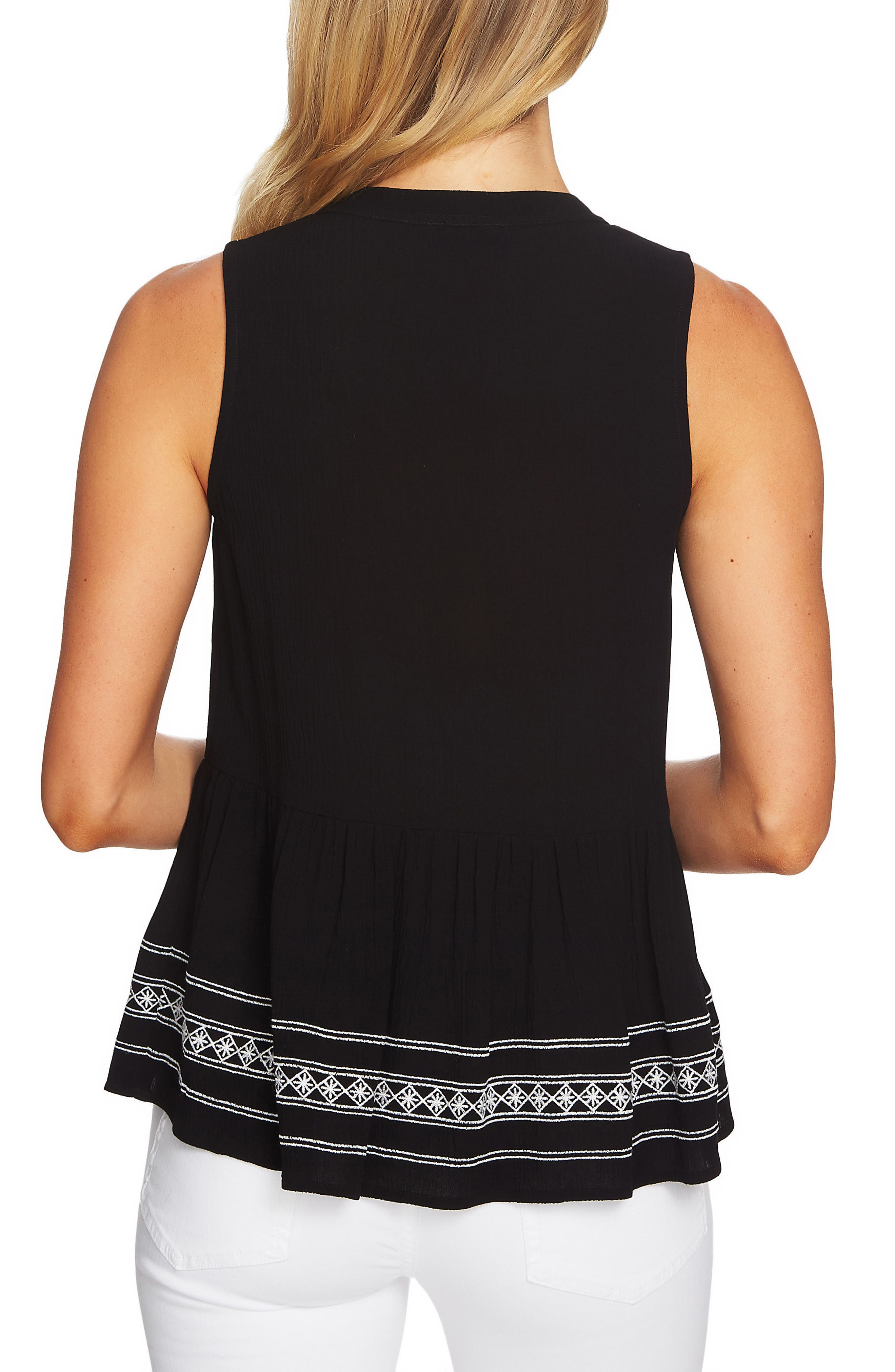 Sleeveless Embroidered Blouse,                             Alternate thumbnail 2, color,                             006