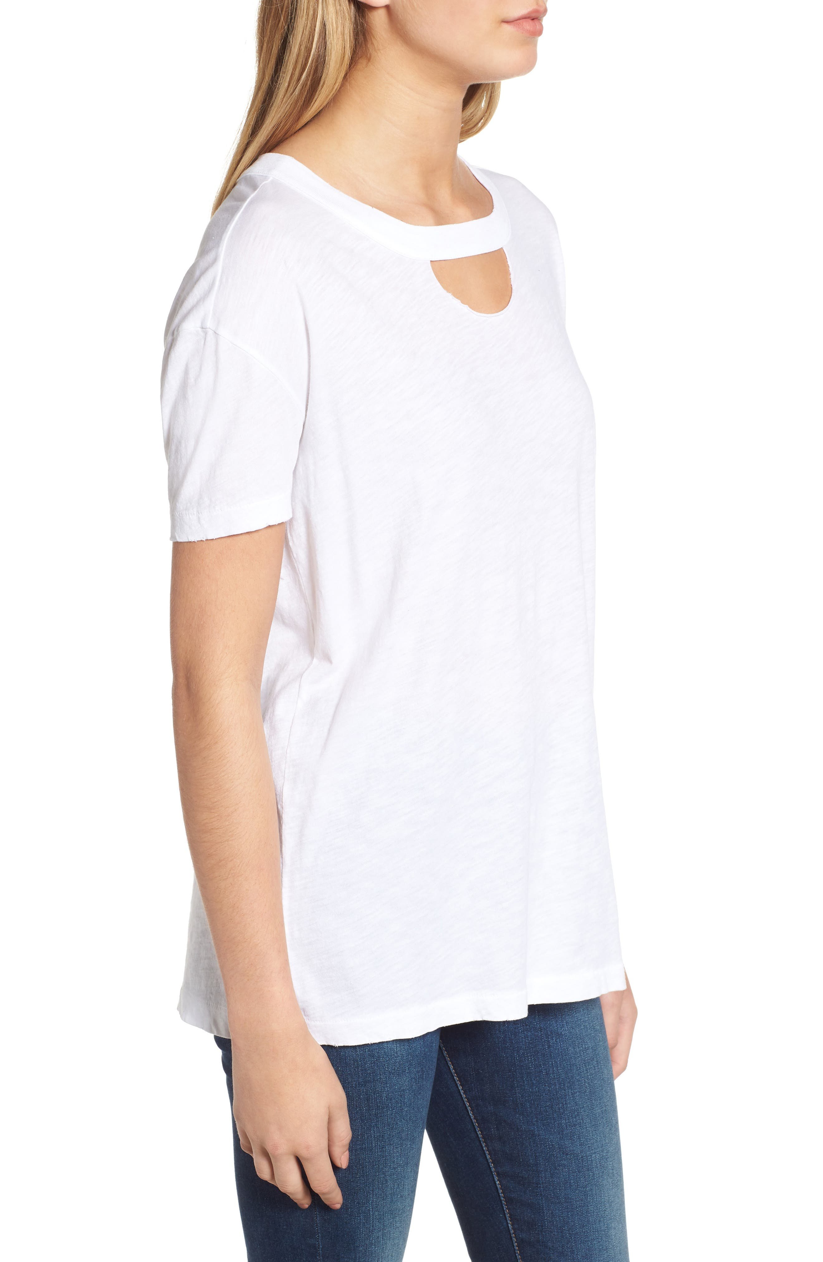 Allen Cutout Detail Boyfriend Cotton Tee,                             Alternate thumbnail 3, color,                             WHITE