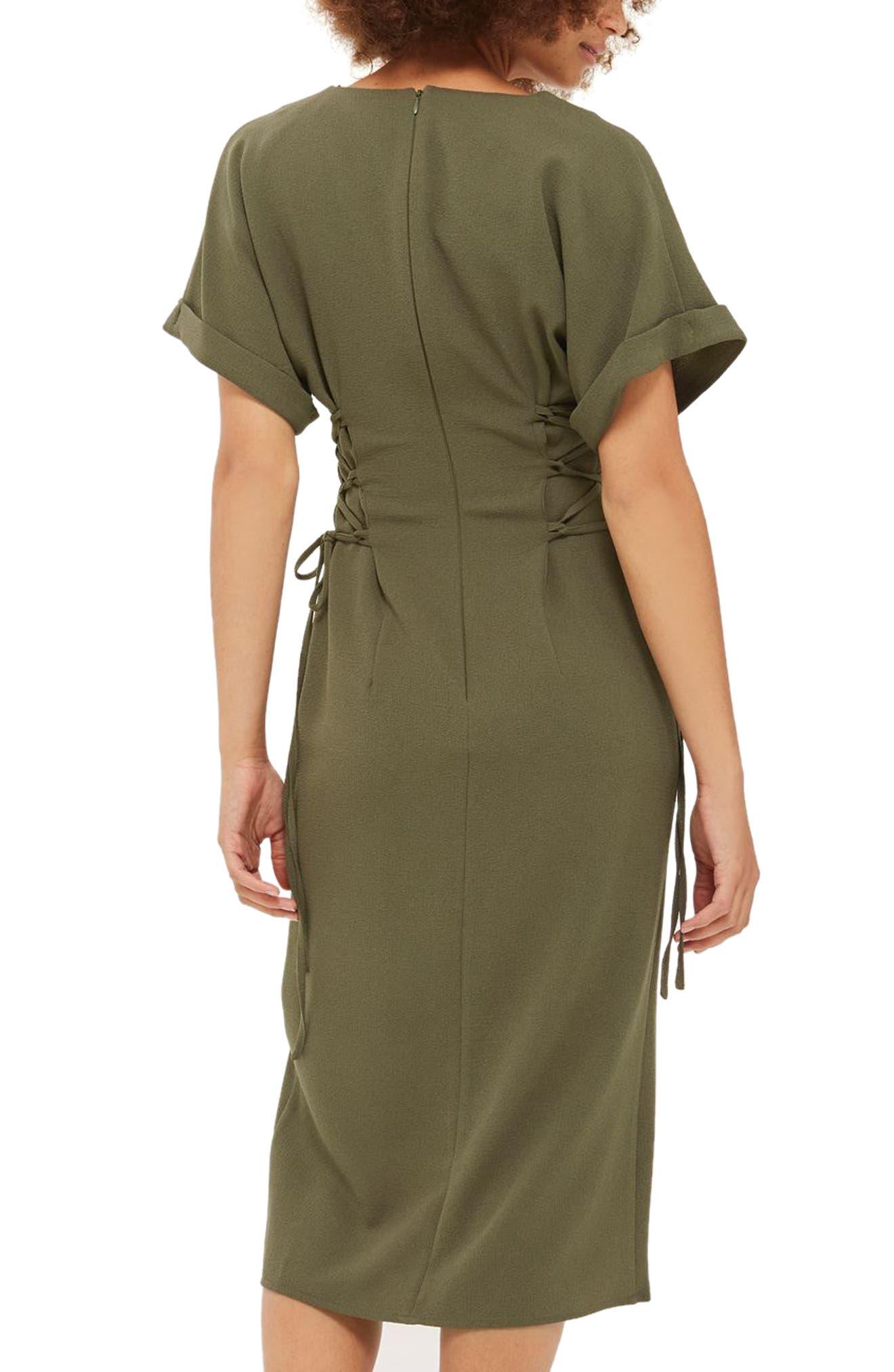 Corset Side Midi Dress,                             Alternate thumbnail 2, color,