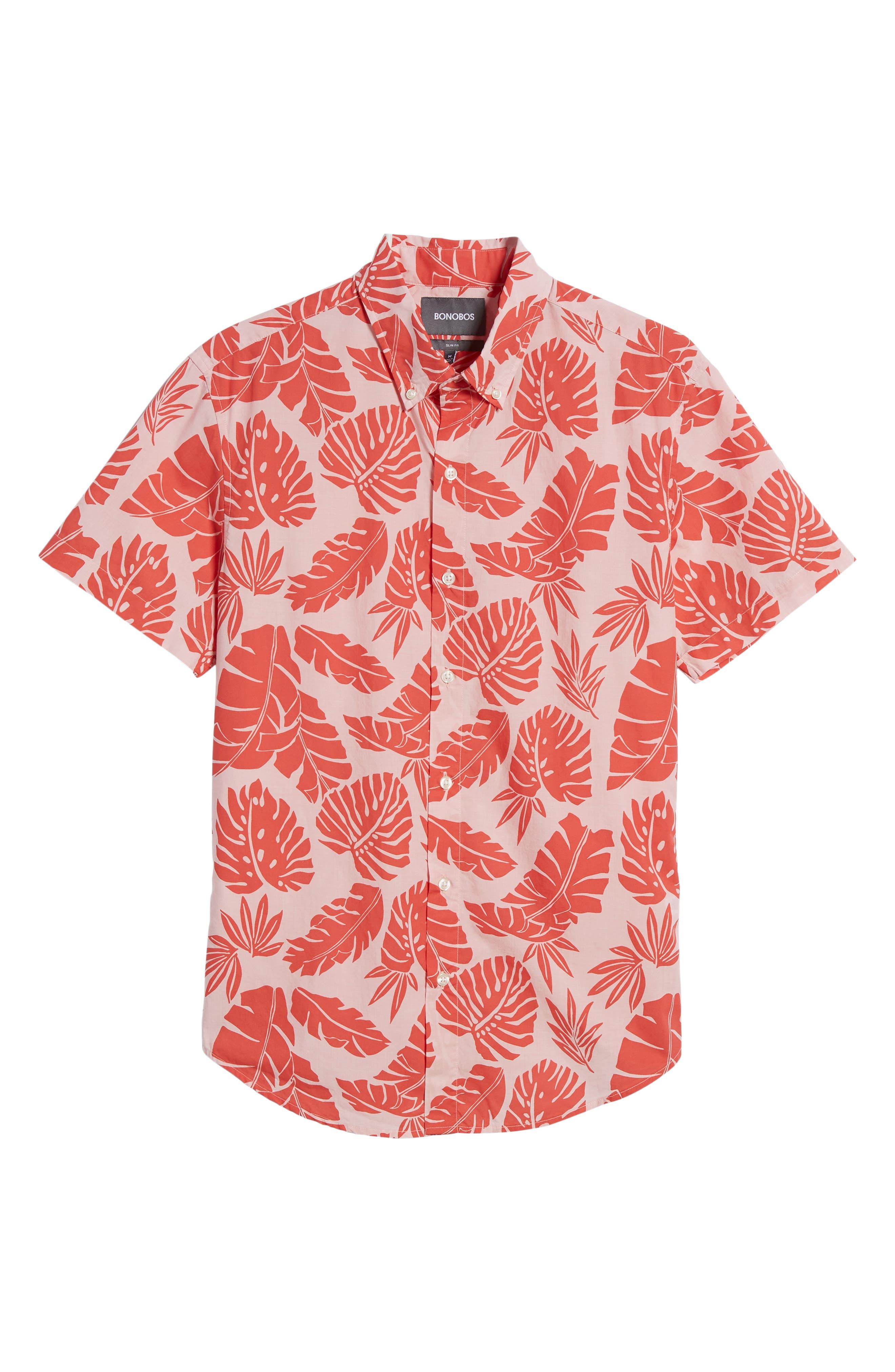 Riviera Slim Fit Palm Print Sport Shirt,                             Alternate thumbnail 6, color,                             PALM SCATTER - CORAL FAN